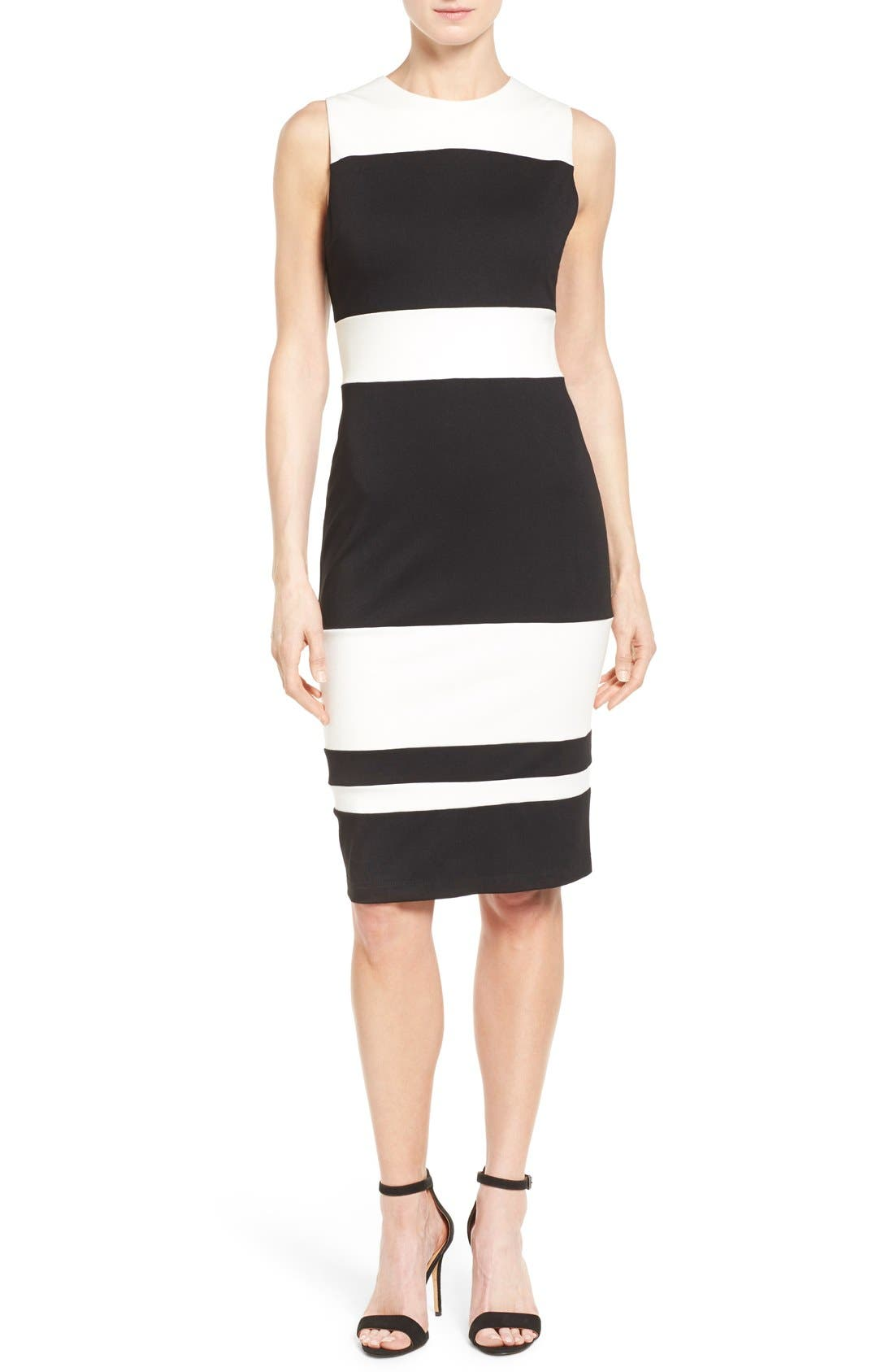 Alternate Image 1 Selected - Matty M Colorblock Stripe Ponte Sheath Dress