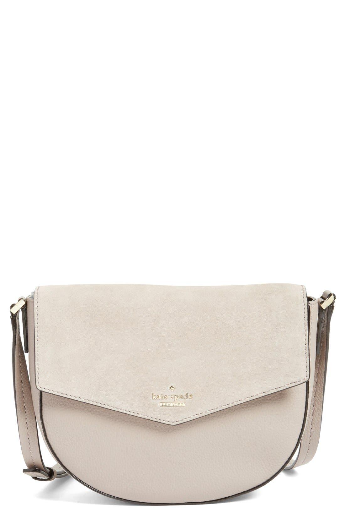 Main Image - kate spade new york 'spencer court - lavinia' leather & suede crossbody bag