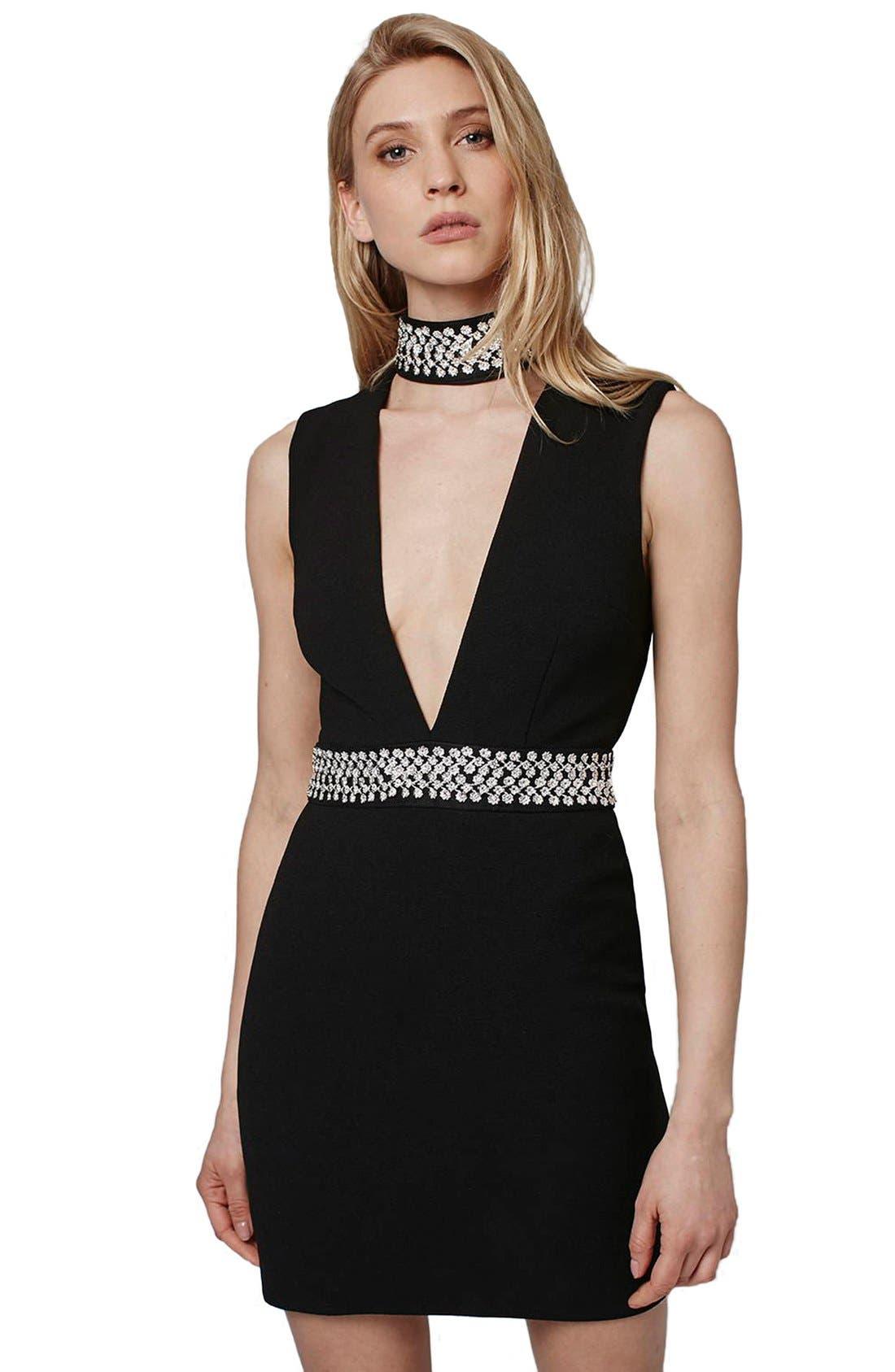 Alternate Image 2  - Topshop Embellished Neck Plunge Body-Con Dress
