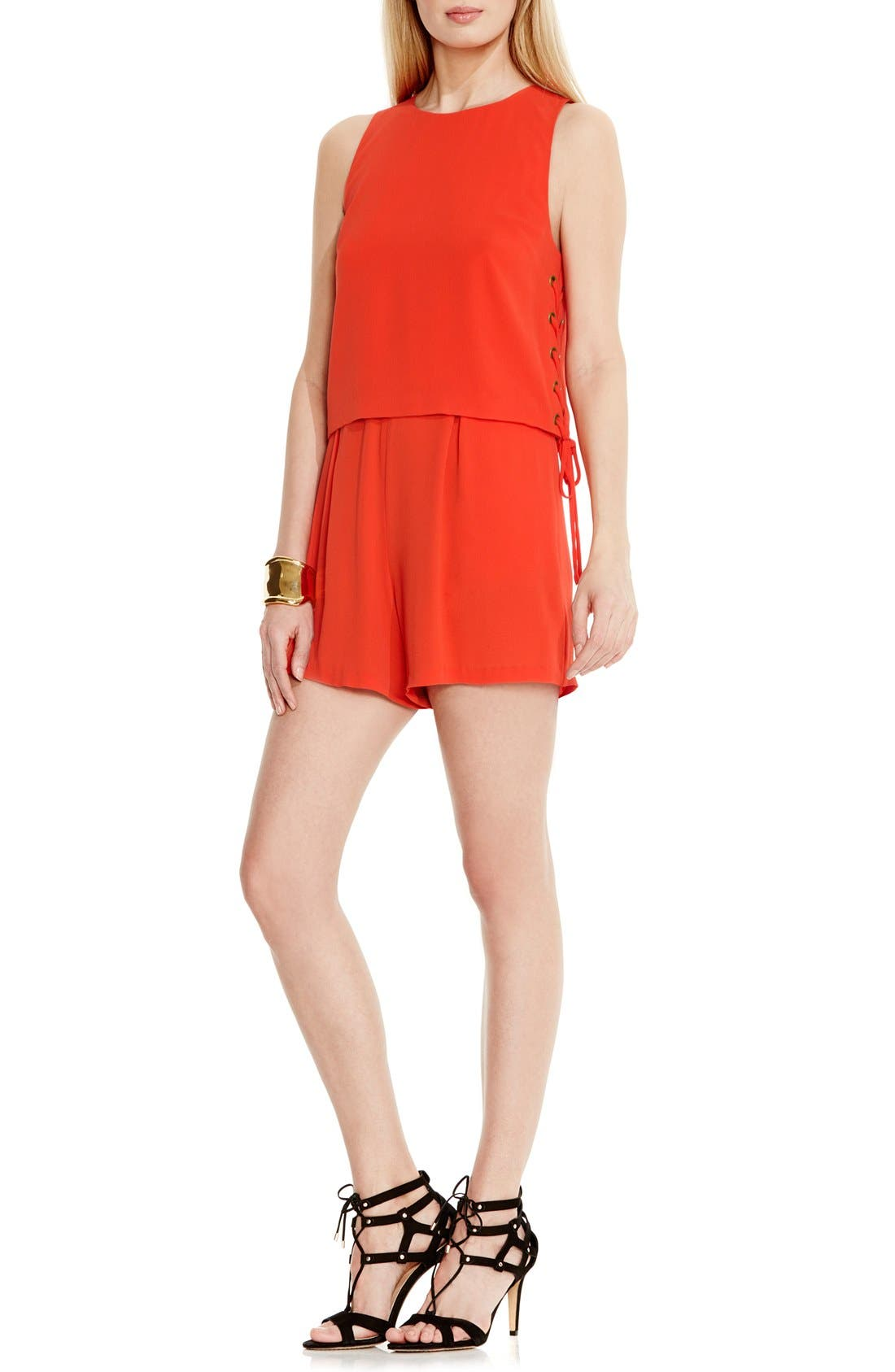 Alternate Image 2  - Vince Camuto Lace-Up Detail Sleeveless Romper