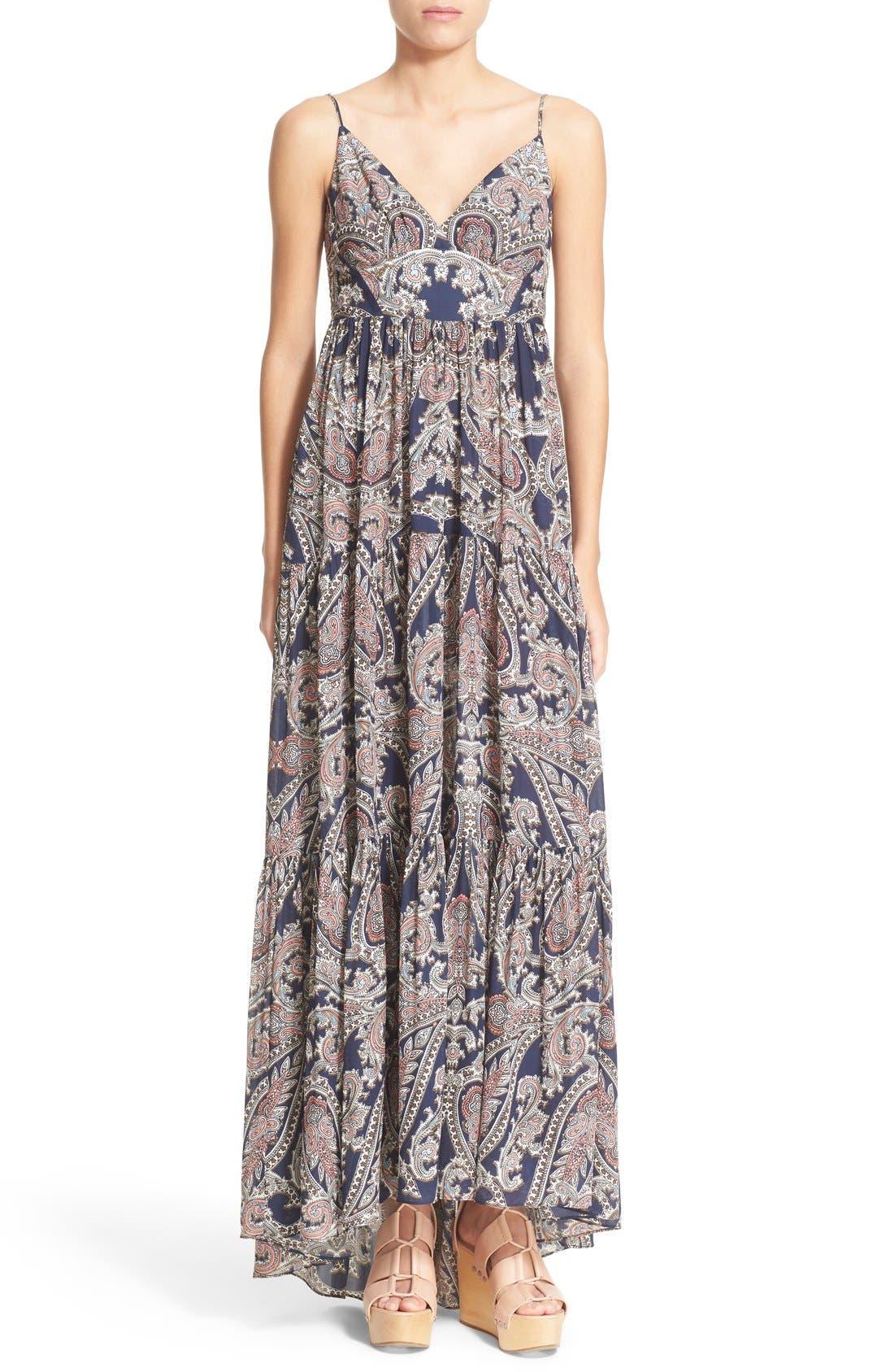Main Image - L'AGENCE 'Honor' Print Silk Maxi Dress