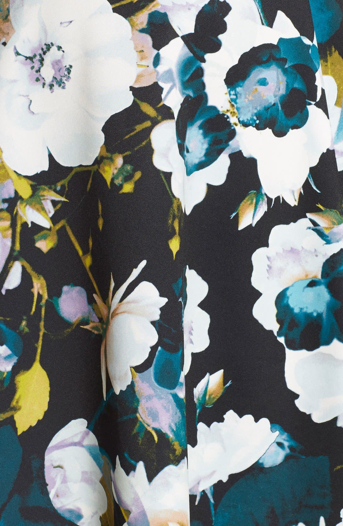 Alternate Image 7  - Eliza J Floral Ponte Fit & Flare Dress (Plus Size)