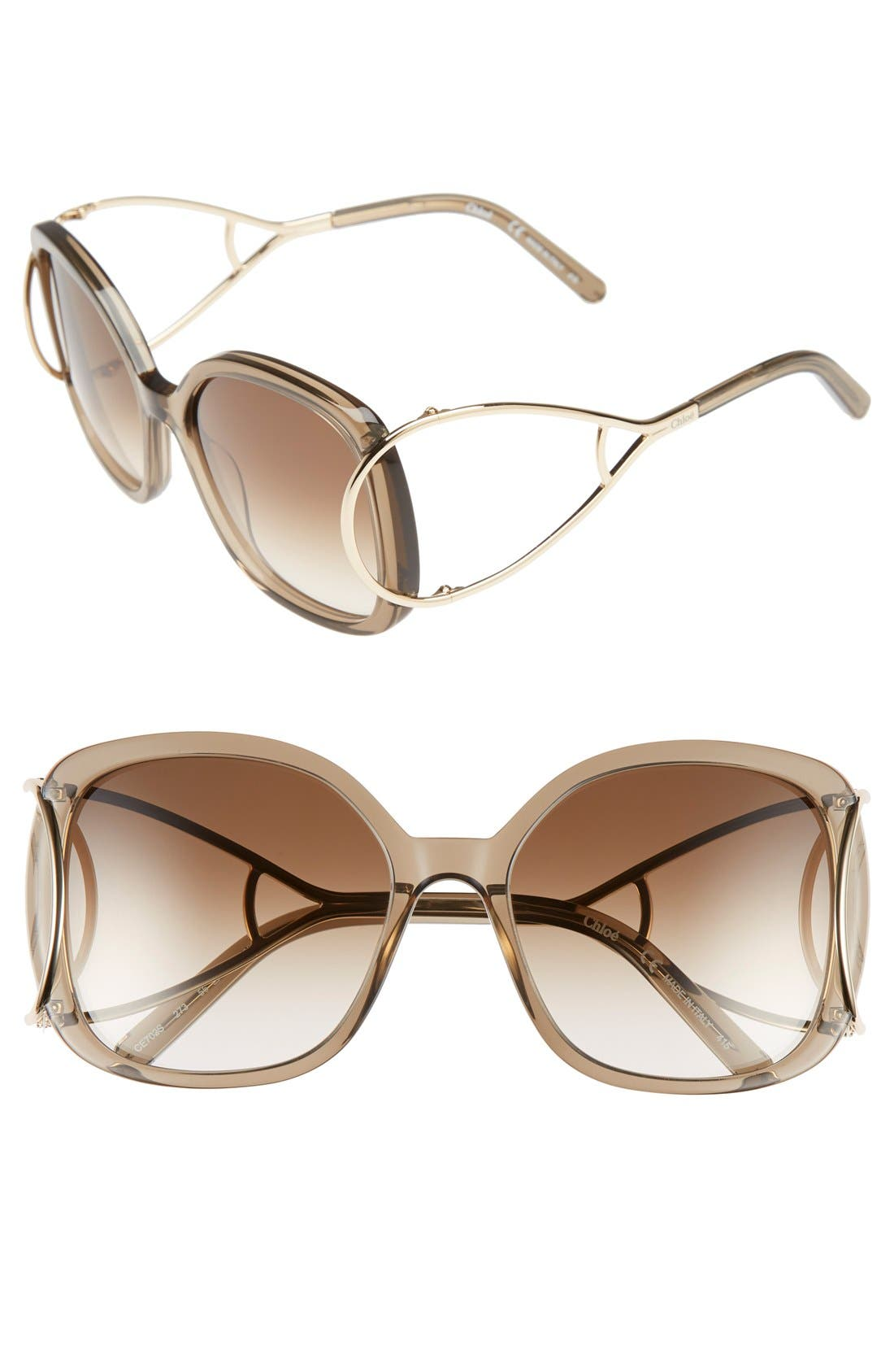 Chloé 'Jackson' 56mm Square Sunglasses