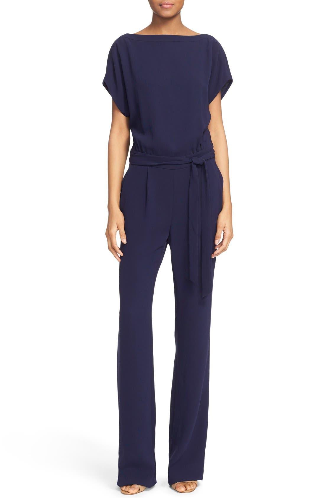 Alternate Image 1 Selected - Diane von Furstenberg Dolman Sleeve Crepe Blouson Jumpsuit