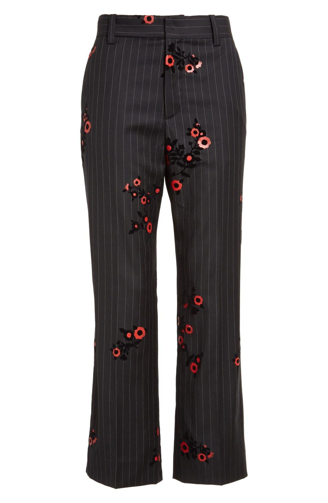 Alternate Image 3  - MARC JACOBS Floral & Pinstripe Crop Flare Wool Pants