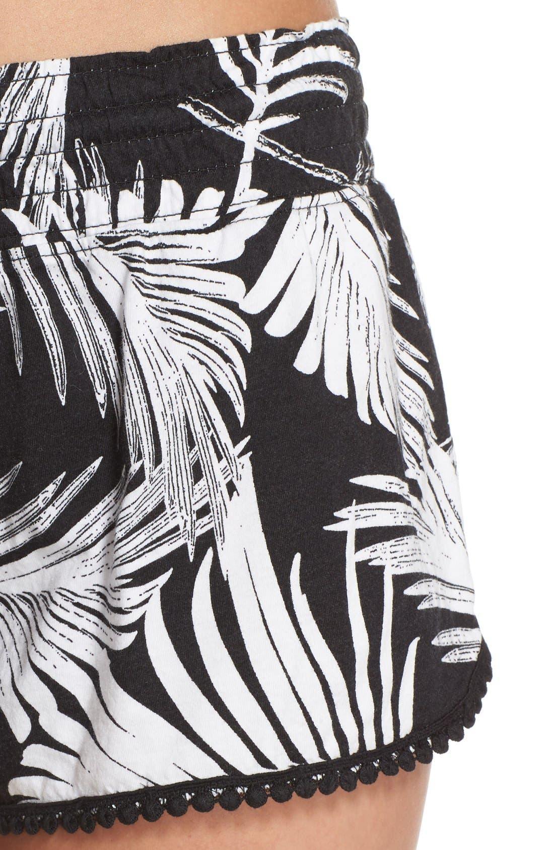 Alternate Image 4  - PJ Salvage Palm Print Pajama Shorts