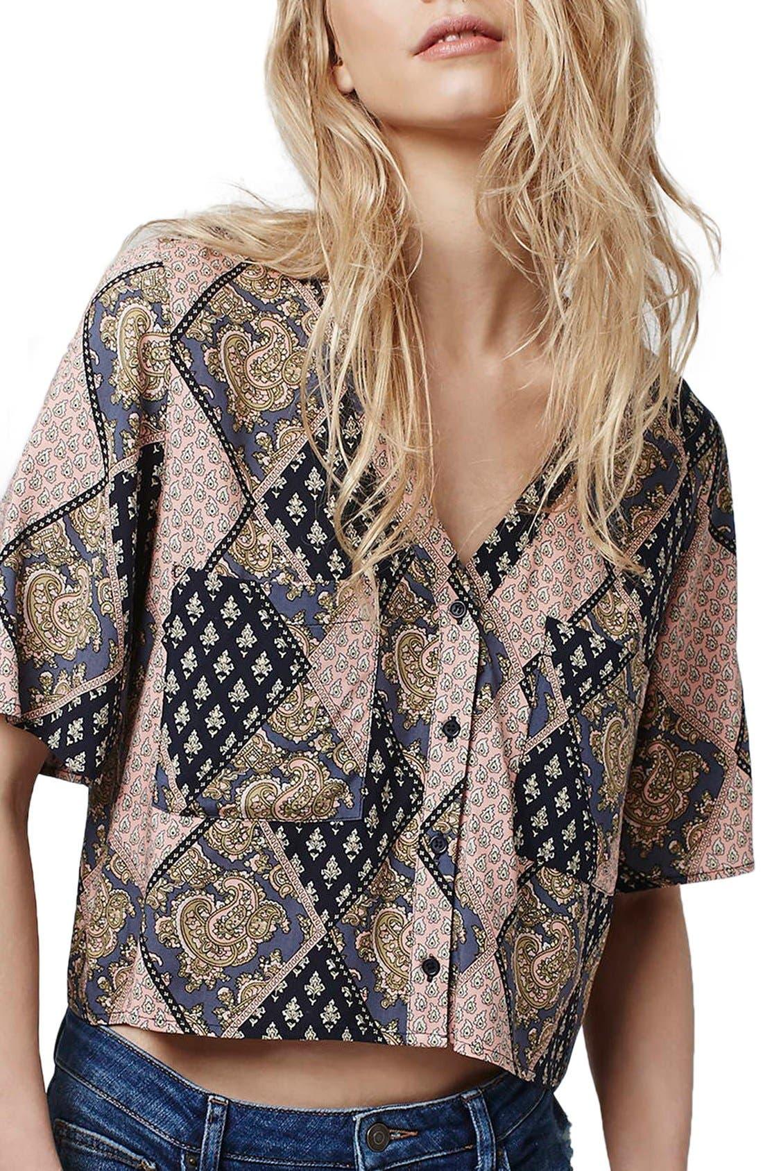 Alternate Image 1 Selected - Topshop 'Holly' Tile Print Shirt
