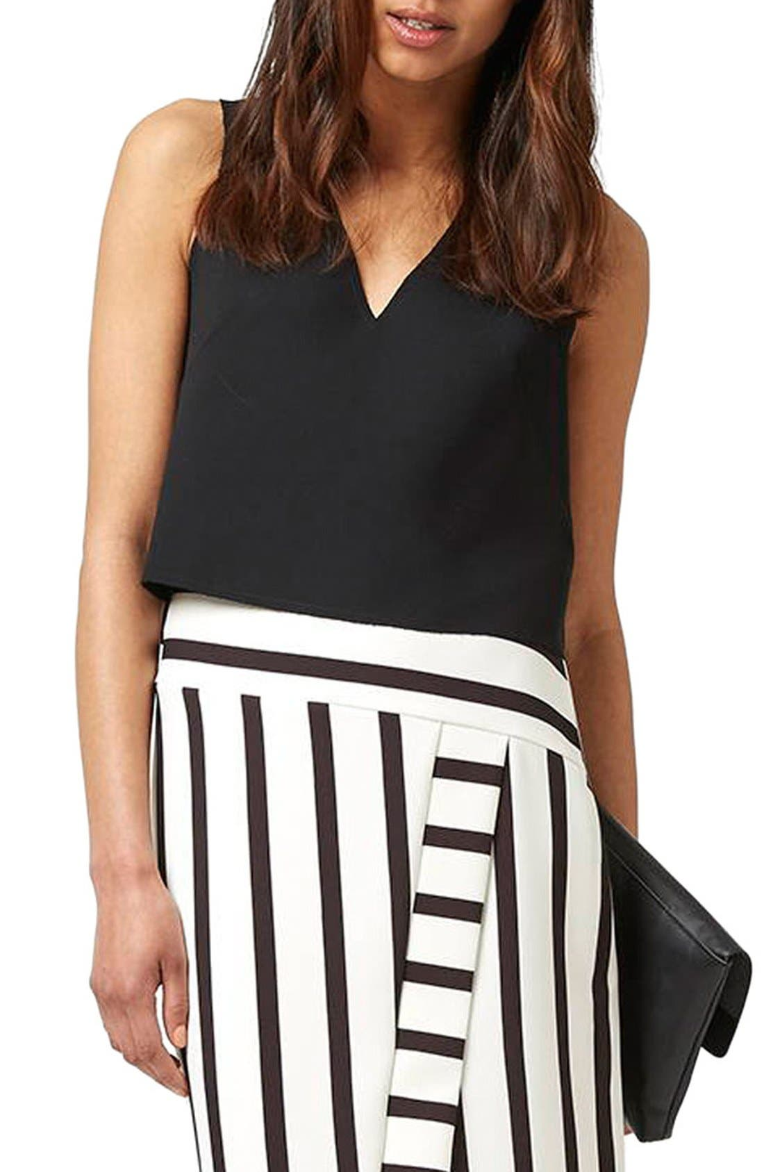 Alternate Image 1 Selected - Topshop Button Back Crop Shell Top