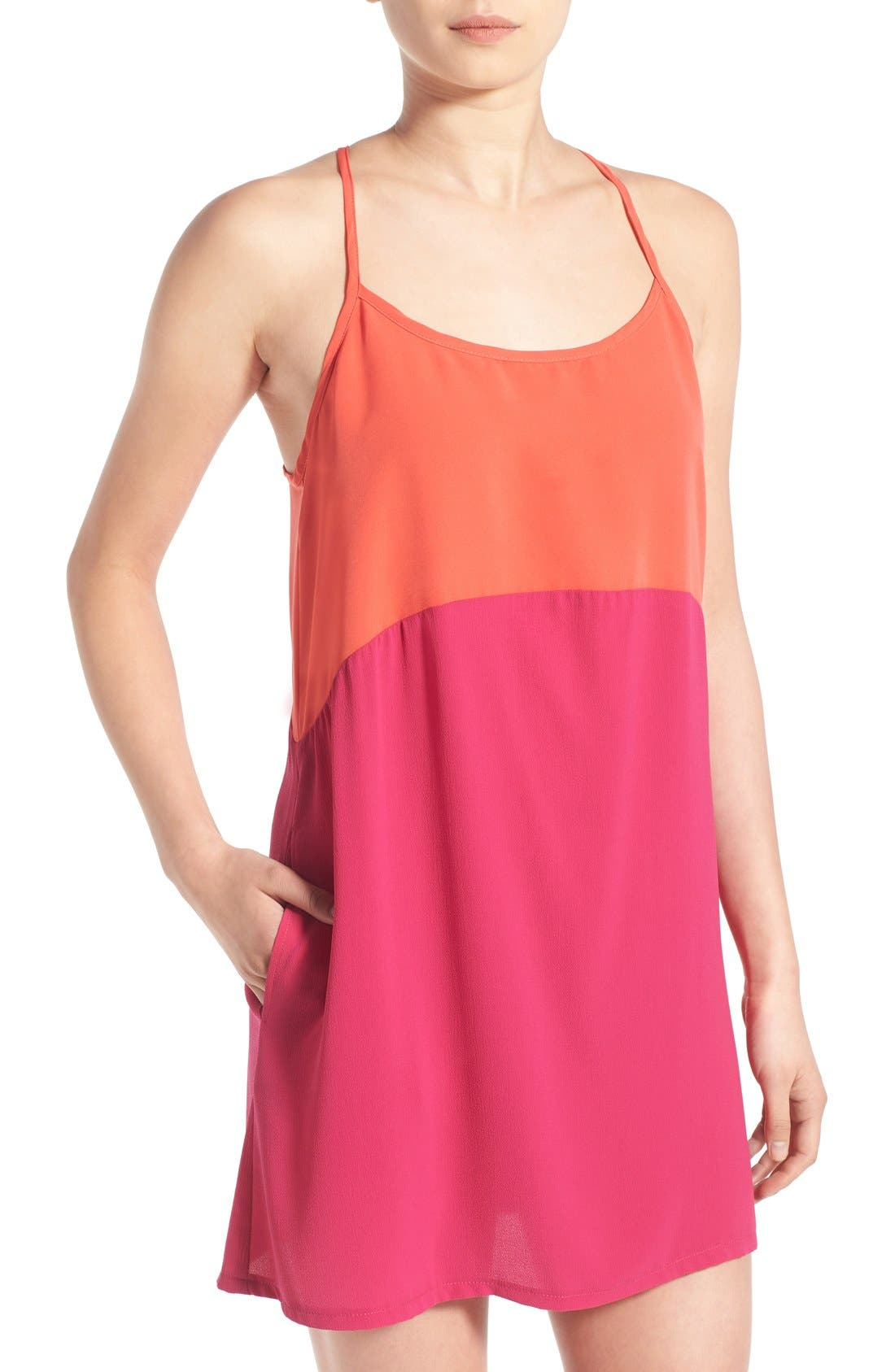 Alternate Image 4  - Mimi Chica Colorblock Racerback Tank Dress