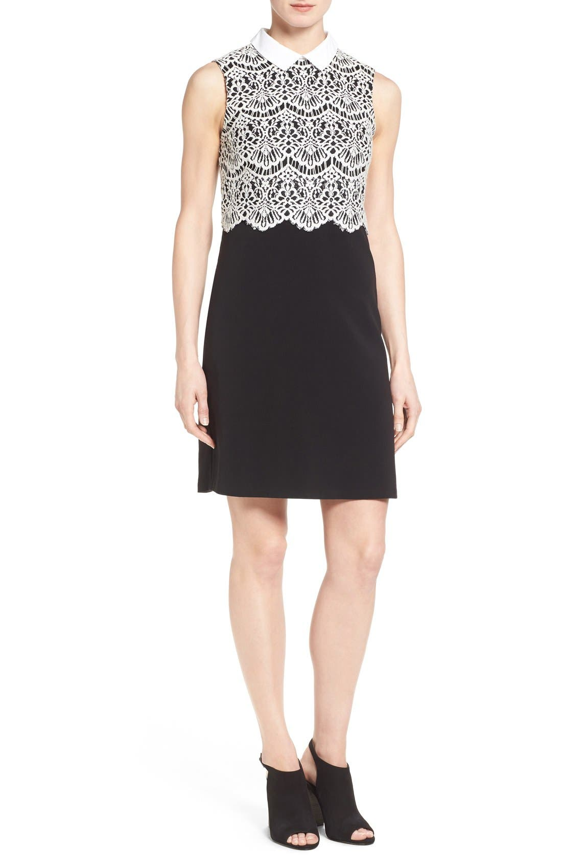 Alternate Image 1 Selected - Halogen® Collared Lace Sheath Dress (Regular & Petite)