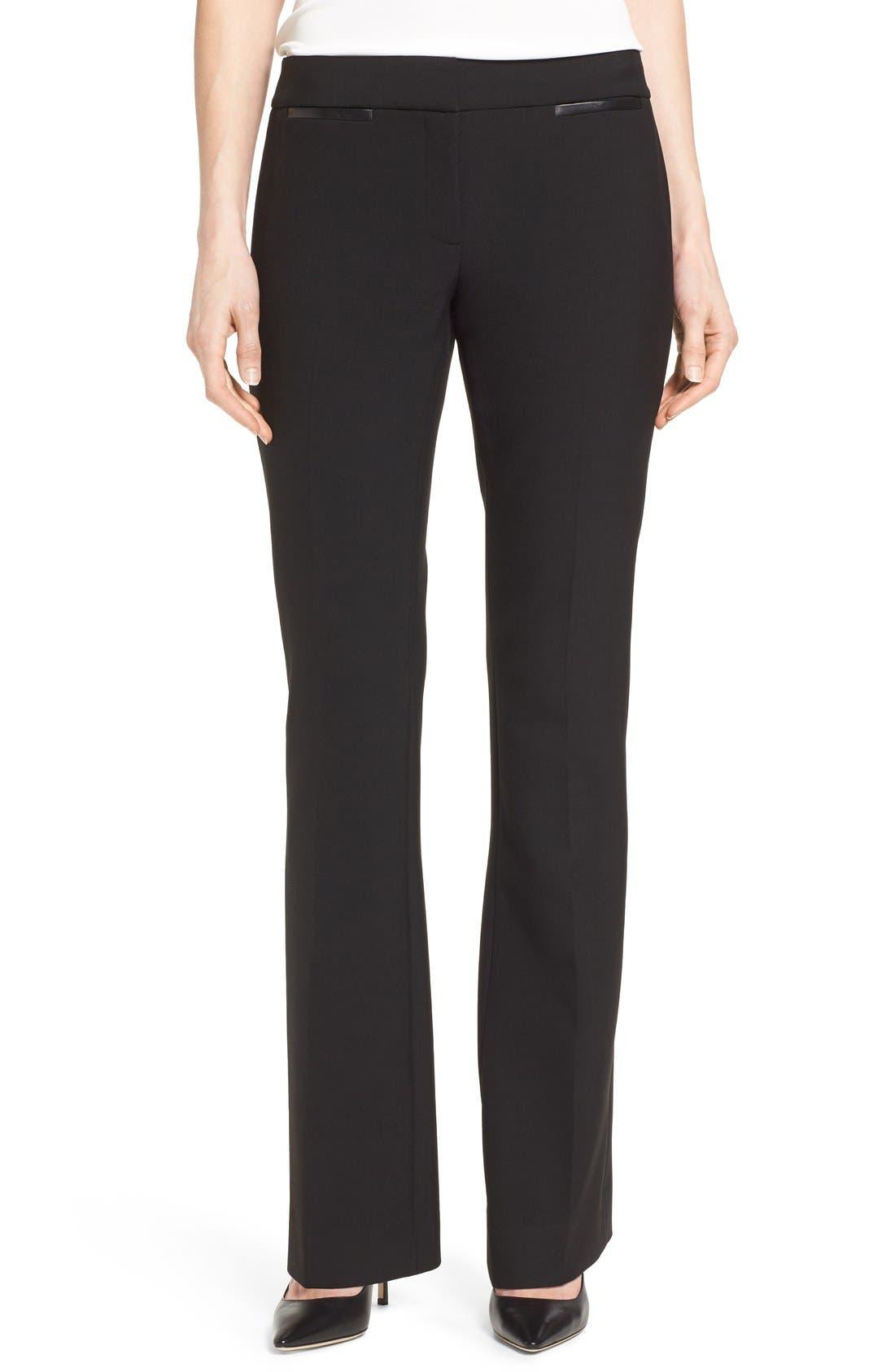 Classiques Entier® Leather Trim Flare Leg Pants (Regular & Petite)