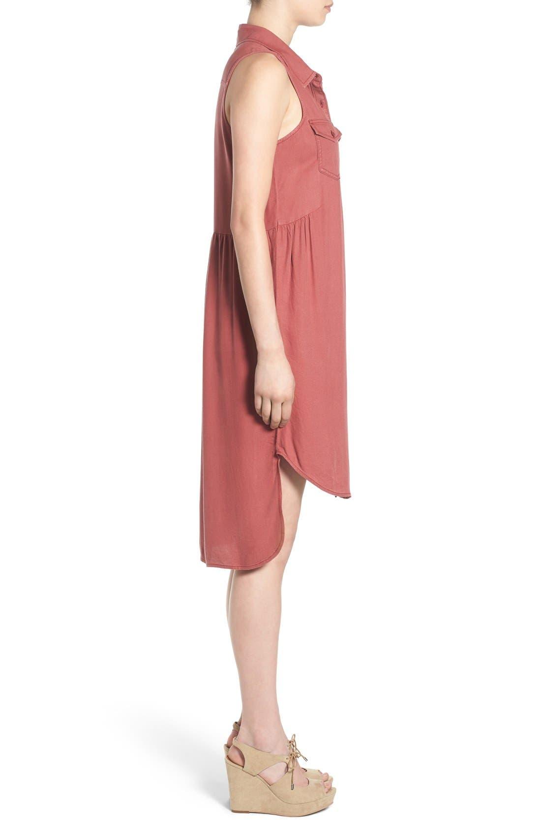 Alternate Image 3  - BP. Sleeveless Woven Shirtdress