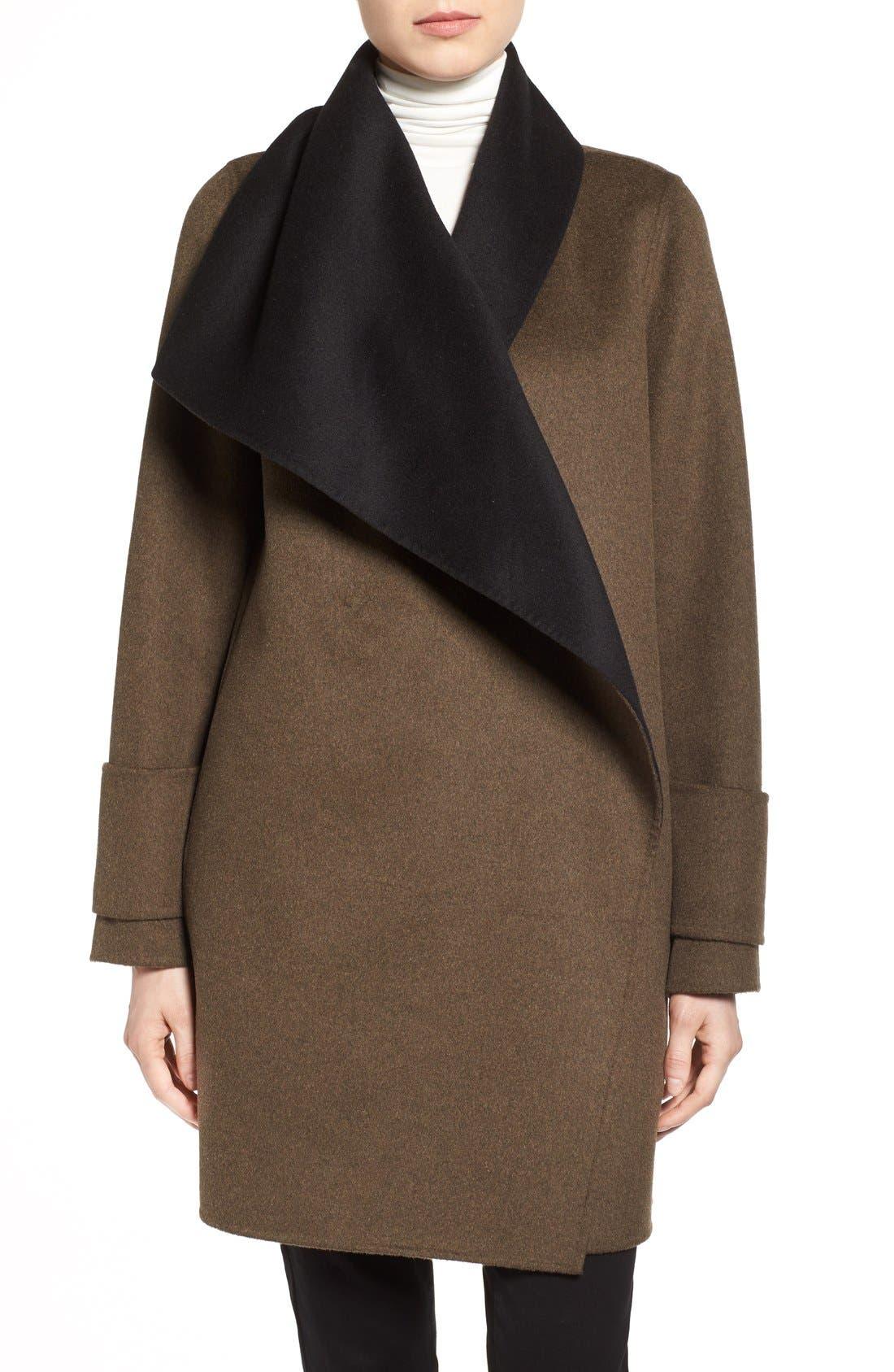 Main Image - Calvin Klein Double Face Drape Front Coat