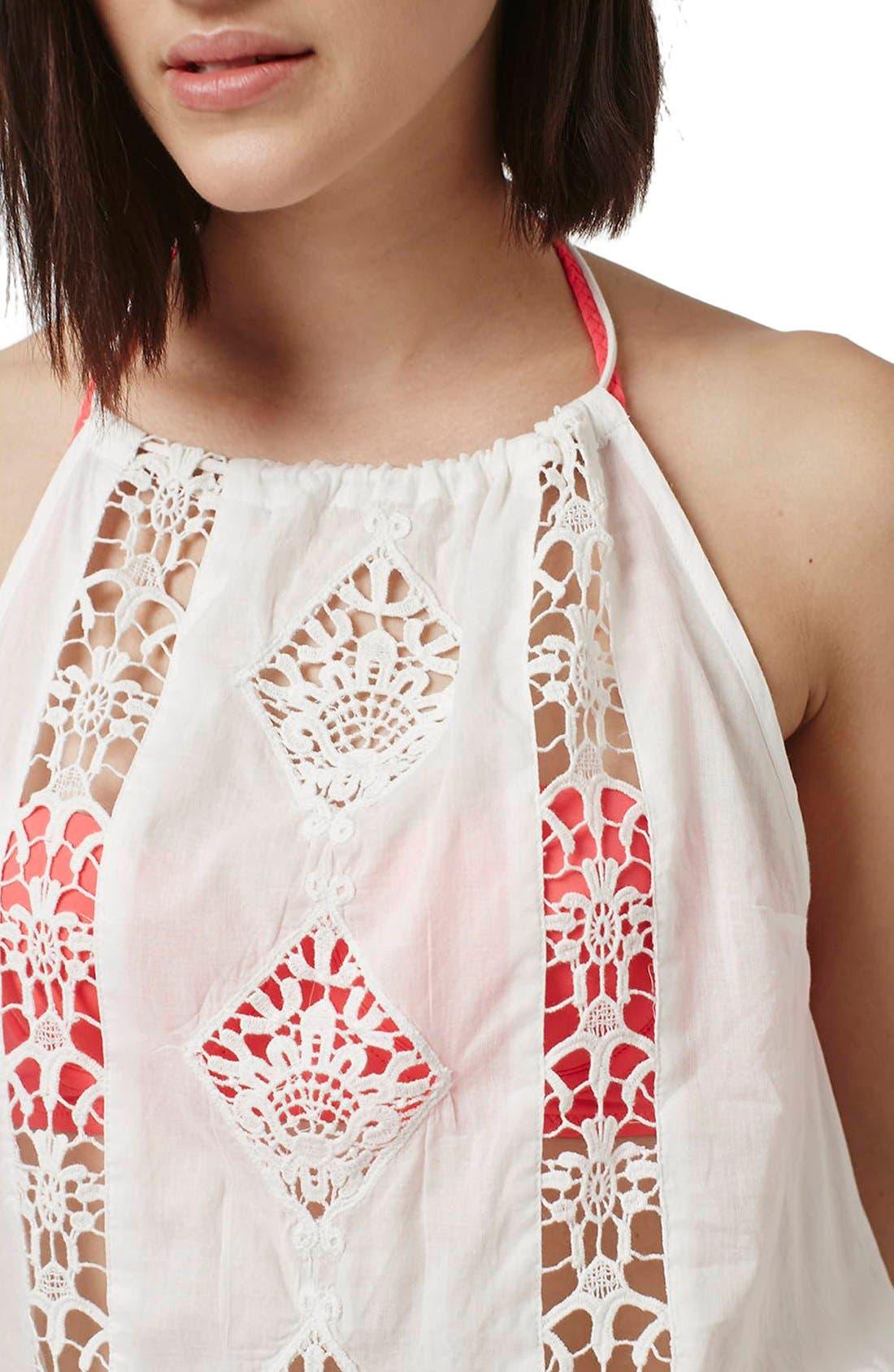 Alternate Image 4  - Topshop Crochet Lace Inset Romper