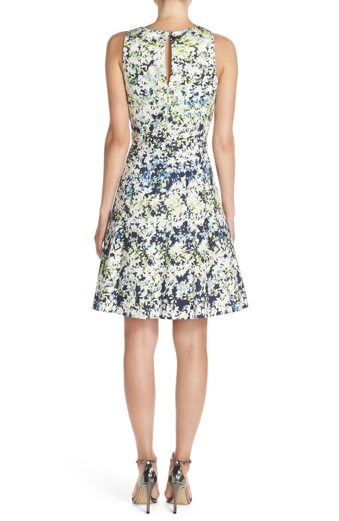 Alternate Image 2  - Maggy London Embroidered Cotton Blend Fit & Flare Dress (Regular & Petite)