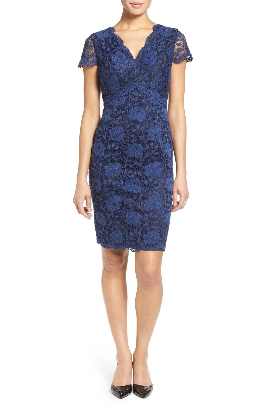 Ellen Tracy Lace Sheath Dress (Regular & Petite)