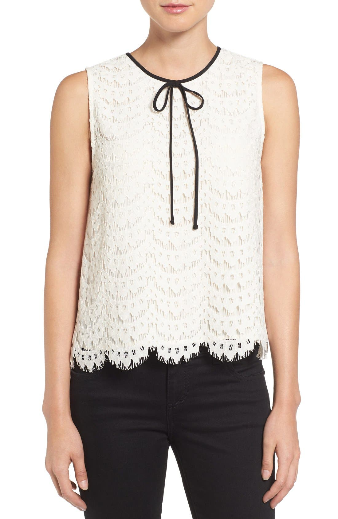 Main Image - Vince Camuto Tie Neck Lace Shell (Regular & Petite)