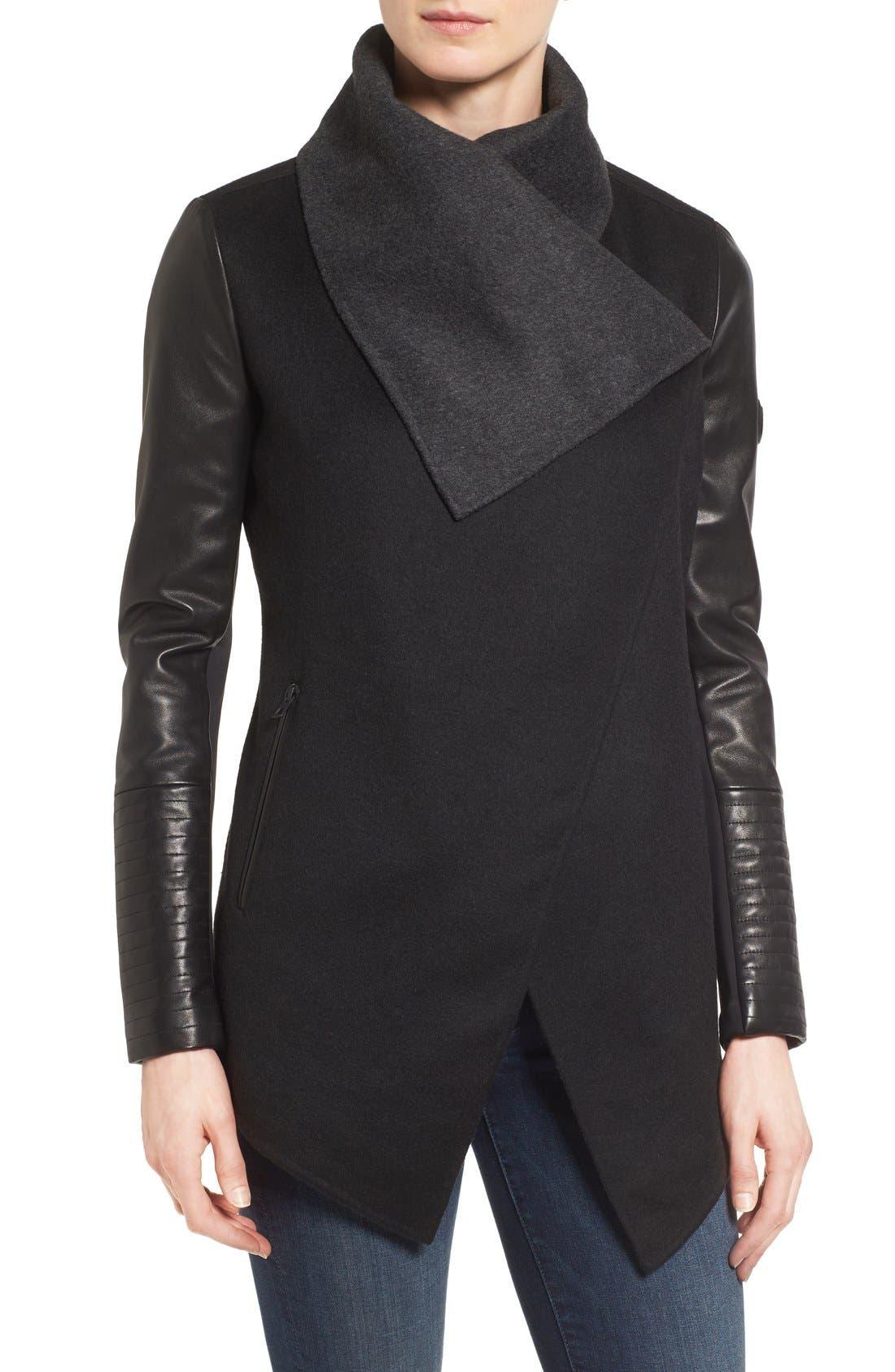 Alternate Image 4  - Rudsak Drape Front Leather Sleeve Jacket