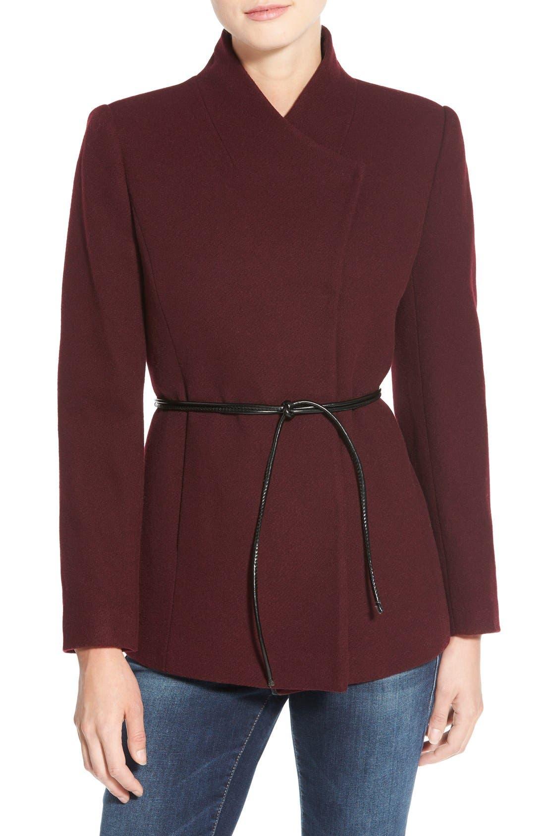Alternate Image 1 Selected - Halogen® Belted Short Wool Blend Coat (Regular & Petite)