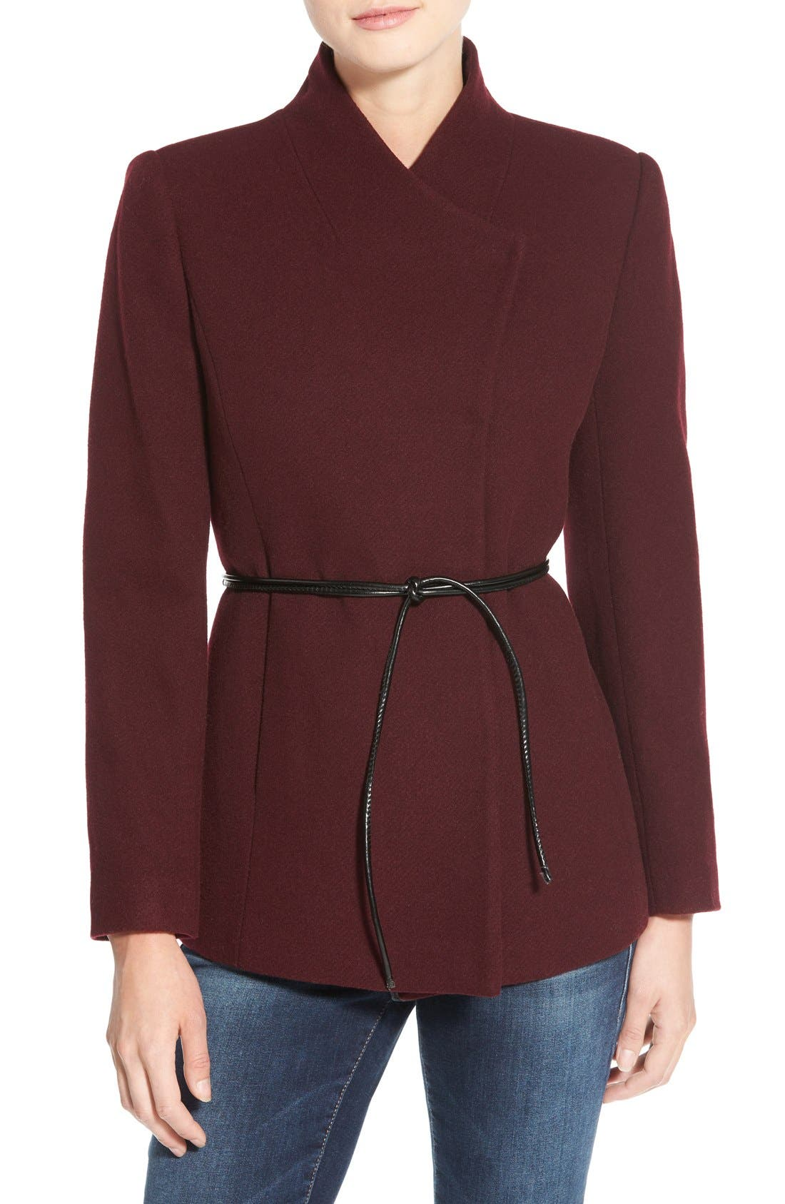 Main Image - Halogen® Belted Short Wool Blend Coat (Regular & Petite)
