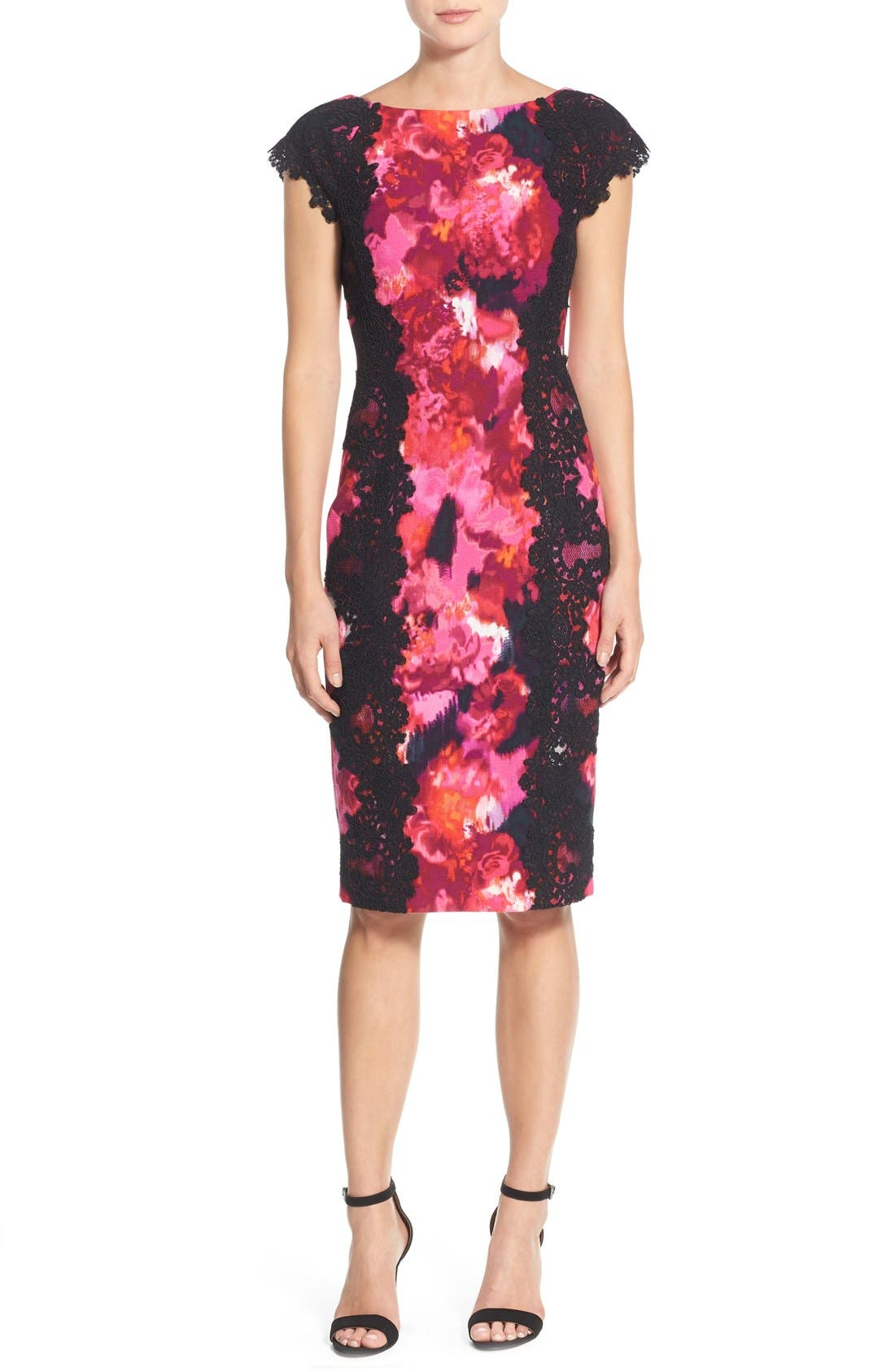 Alternate Image 4  - Maggy London Lace & Crepe Sheath Dress (Regular & Petite) (Nordstrom Exclusive)