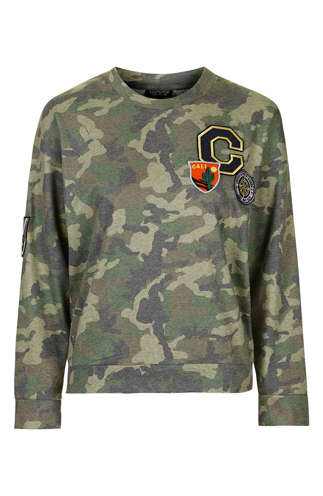 Alternate Image 4  - Topshop Camo Print Patch Sweatshirt
