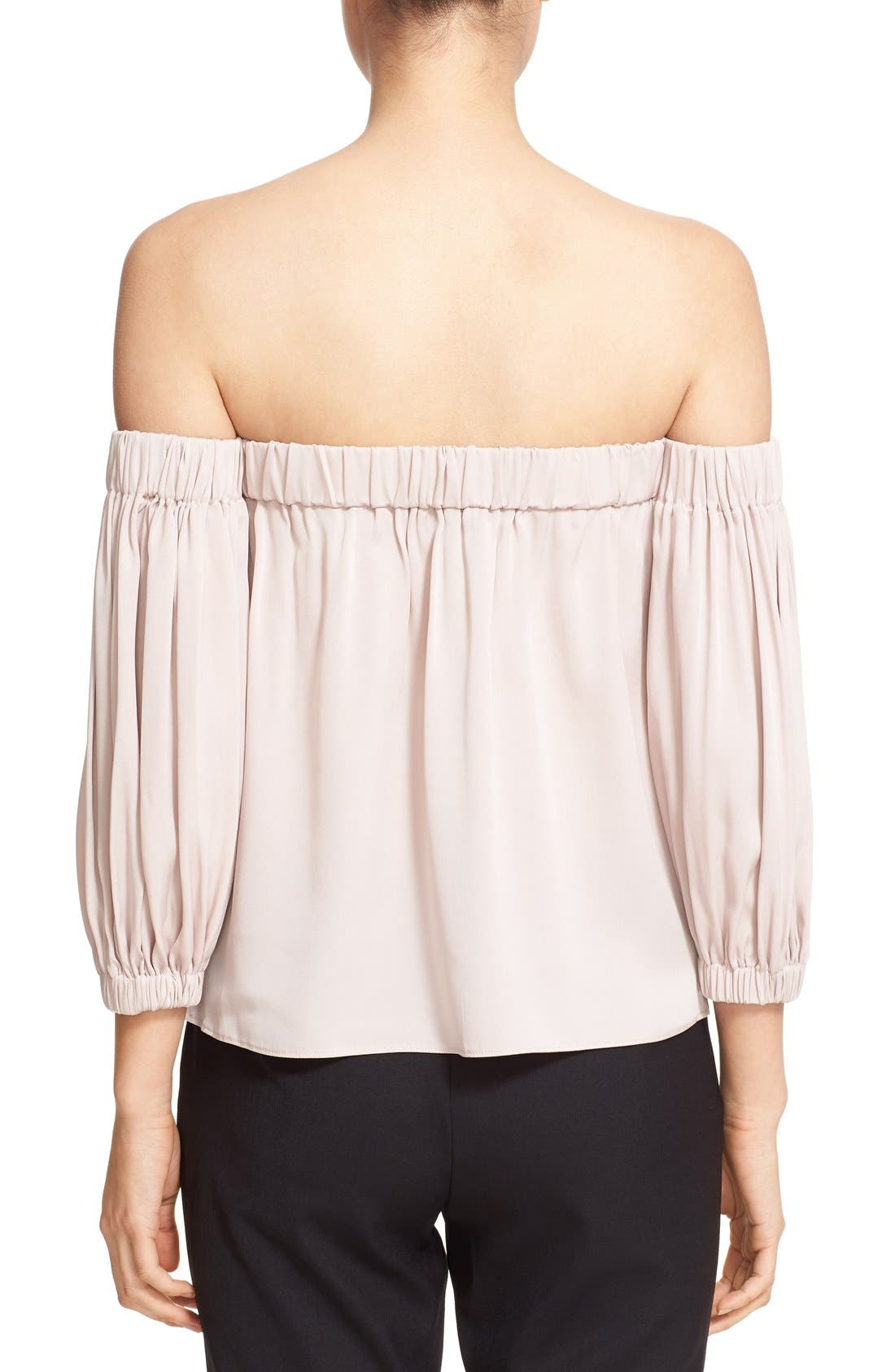 Alternate Image 2  - Milly Stretch Silk Off the Shoulder Blouse