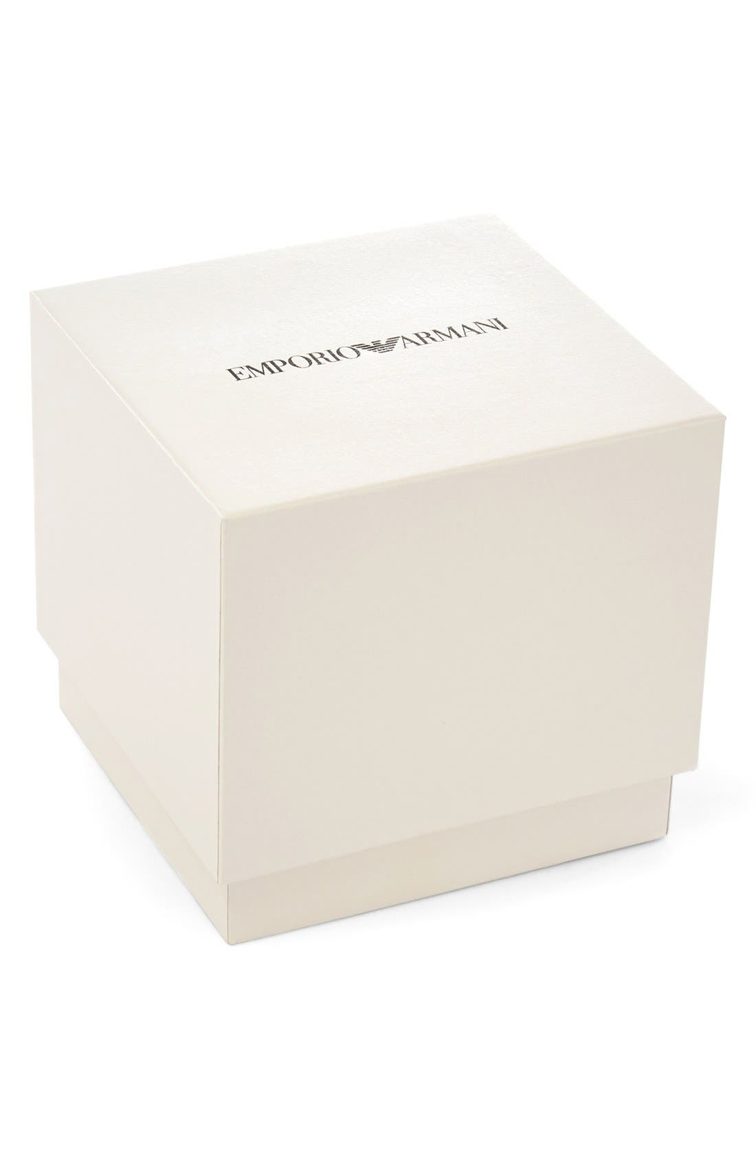 Alternate Image 2  - Emporio Armani Round Leather Strap Watch, 43mm