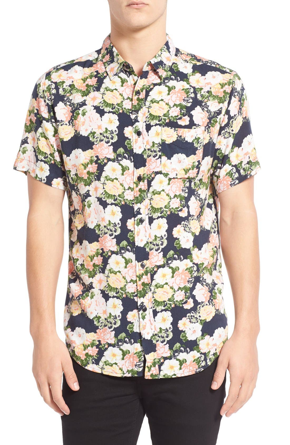 IMPERIAL MOTION 'Vacay' Floral Print Short Sleeve Woven