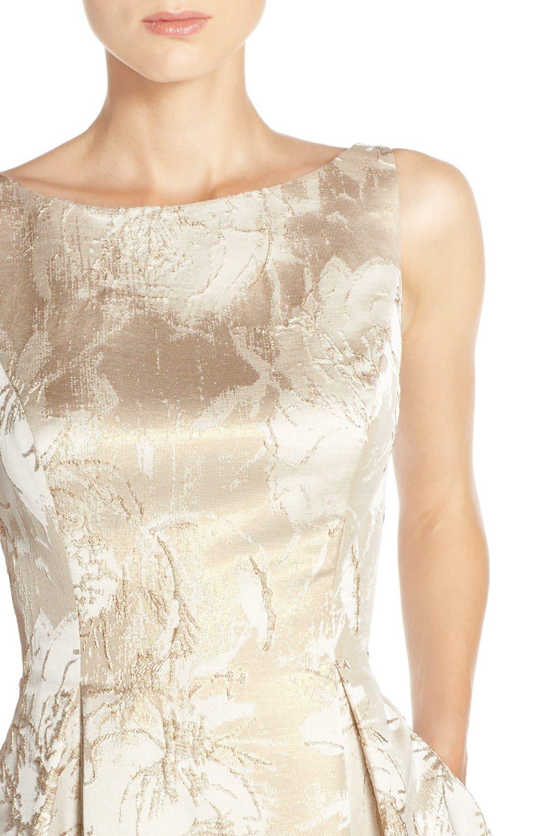 Alternate Image 4  - Aidan Mattox Floral Metallic Jacquard Fit & Flare Dress
