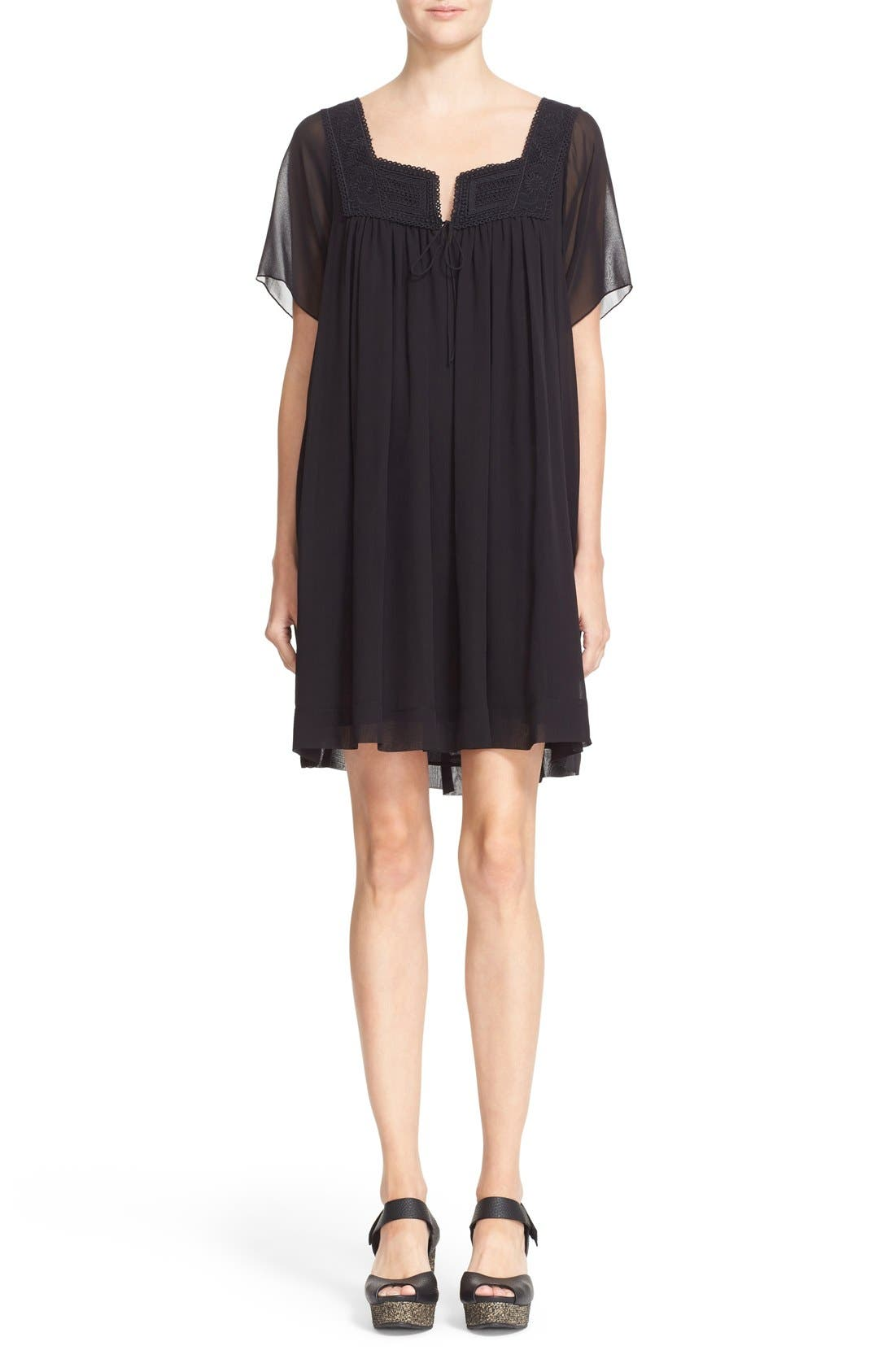 Main Image - See by Chloé Lace Trim Silk Georgette Dress