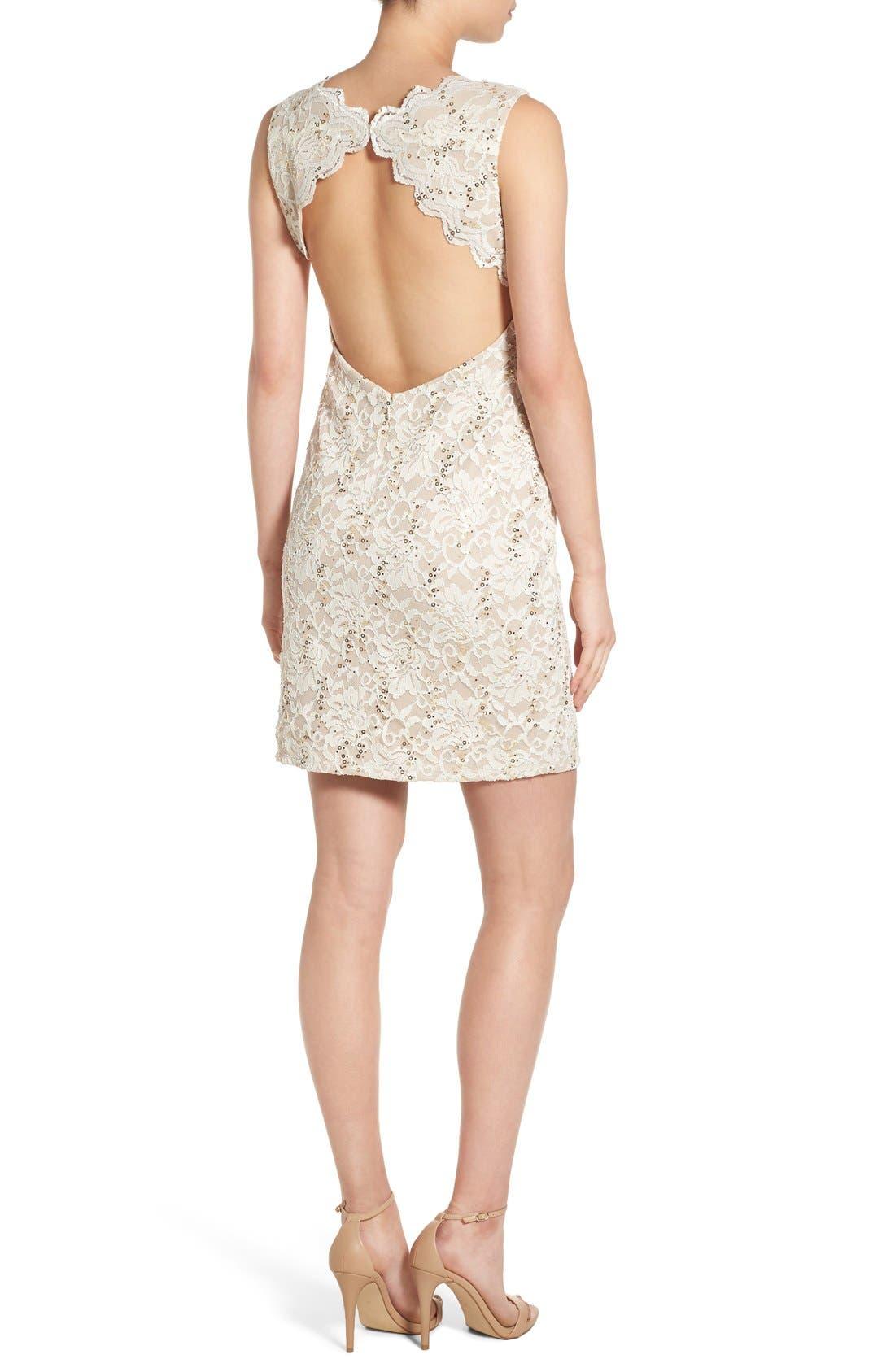 Alternate Image 2  - Morgan & Co. Open Back Lace Dress