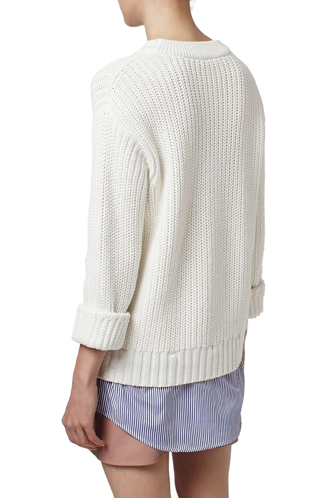 Alternate Image 3  - Topshop Boutique Shirttail Hem Ribbed Sweater