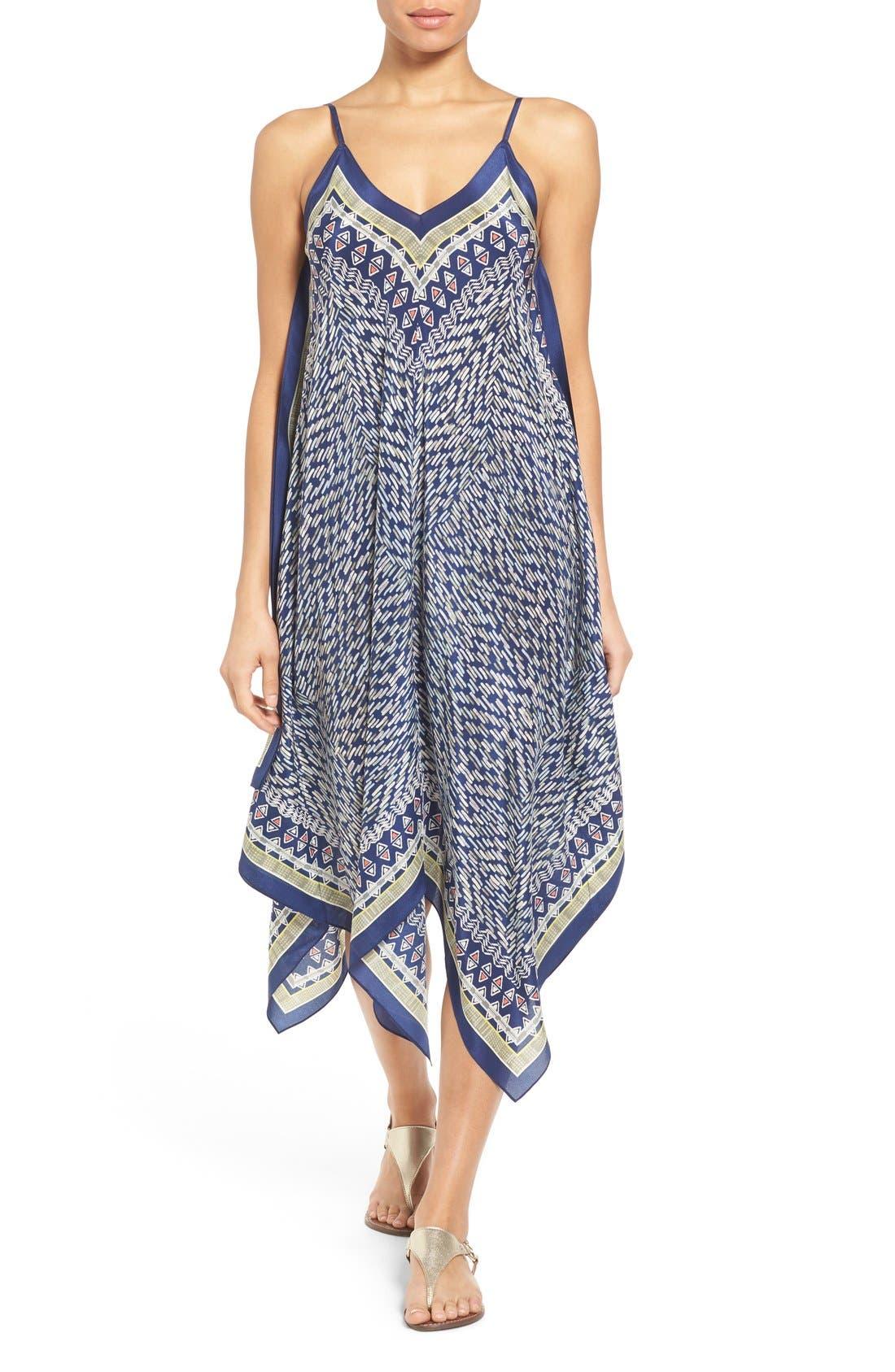 Alternate Image 1 Selected - NIC+ZOE 'Tropicale' Print Handkerchief Hem Silk Sundress (Regular & Petite)