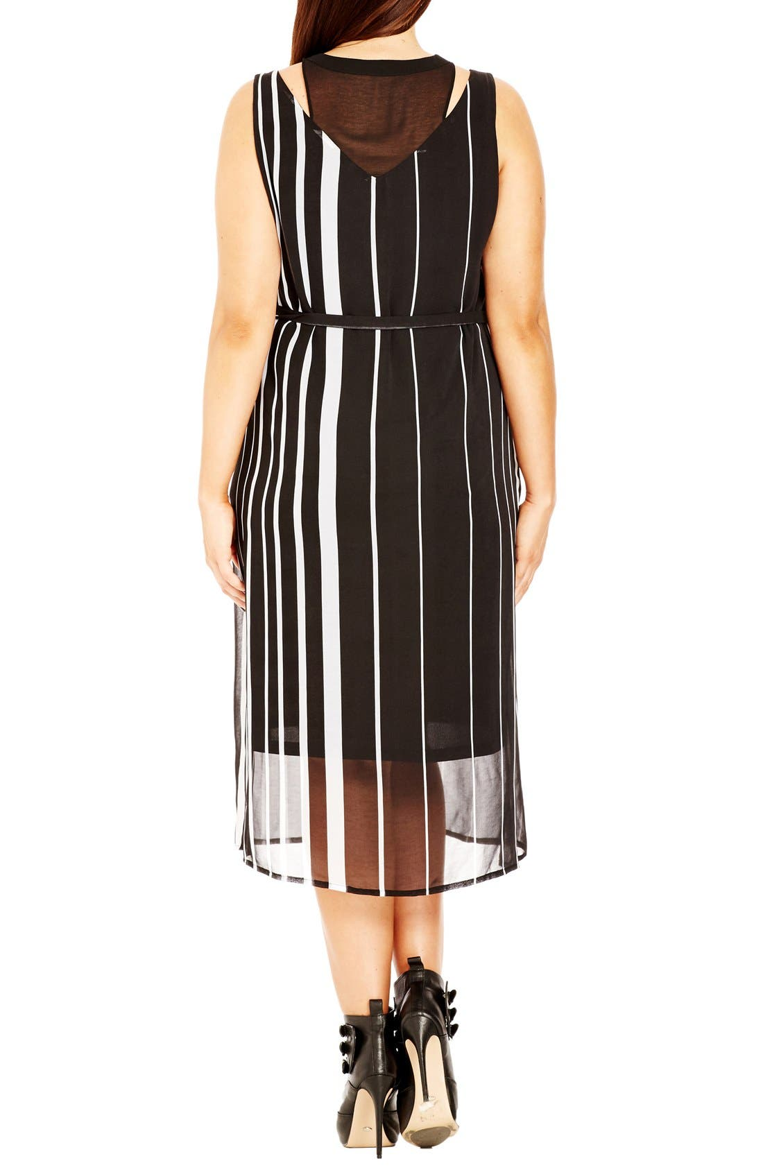 Alternate Image 2  - City Chic 'Office Romance' Sheer Overlay Dress (Plus Size)