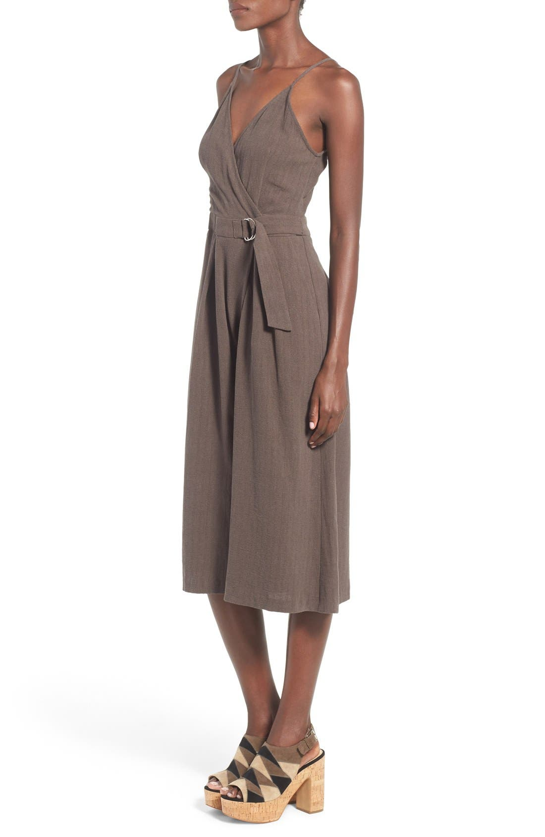 Alternate Image 3  - ASTR 'Peonia' Cotton & Linen Surplice Jumpsuit