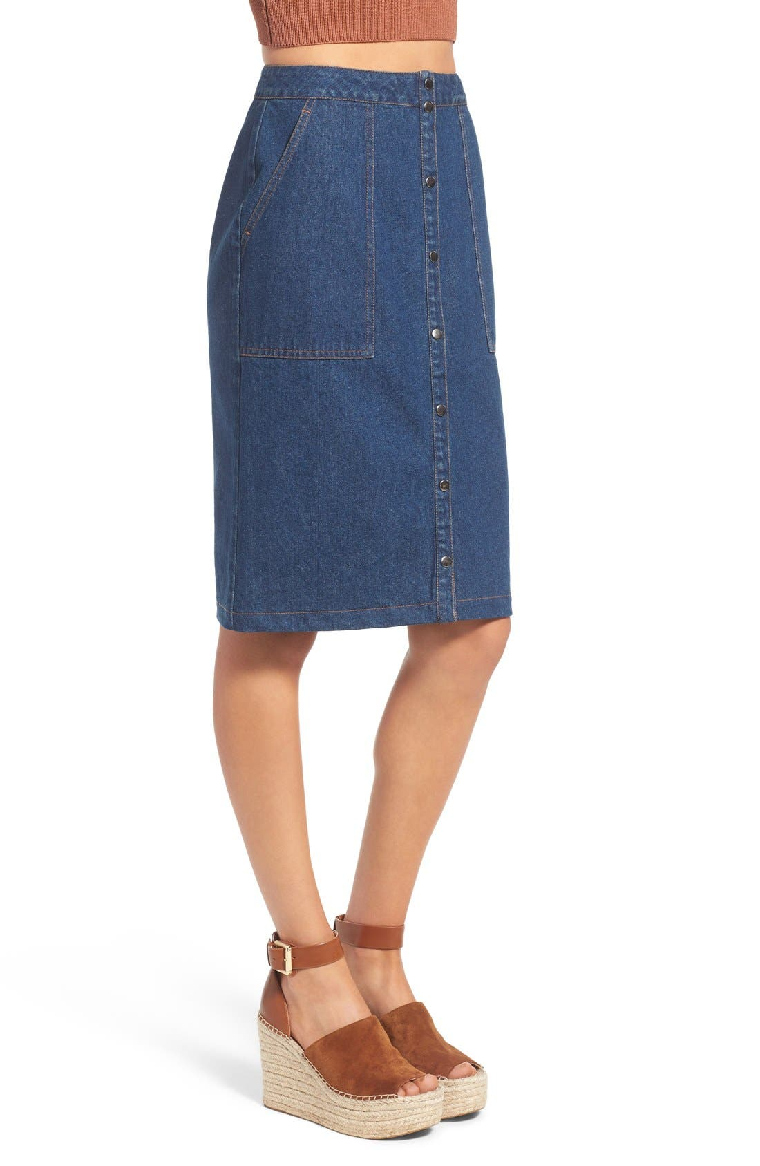 Alternate Image 3  - ASTR 'Francisca' Button Front Denim Skirt