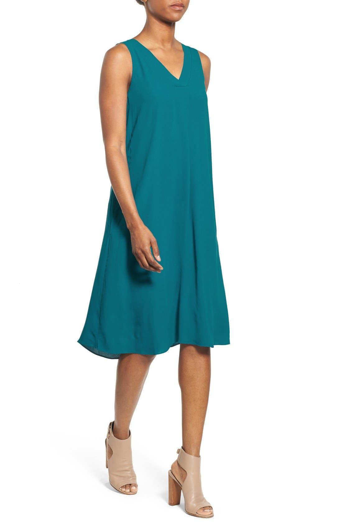 Alternate Image 4  - Eileen Fisher Silk V-Neck Shift Dress (Regular & Petite)