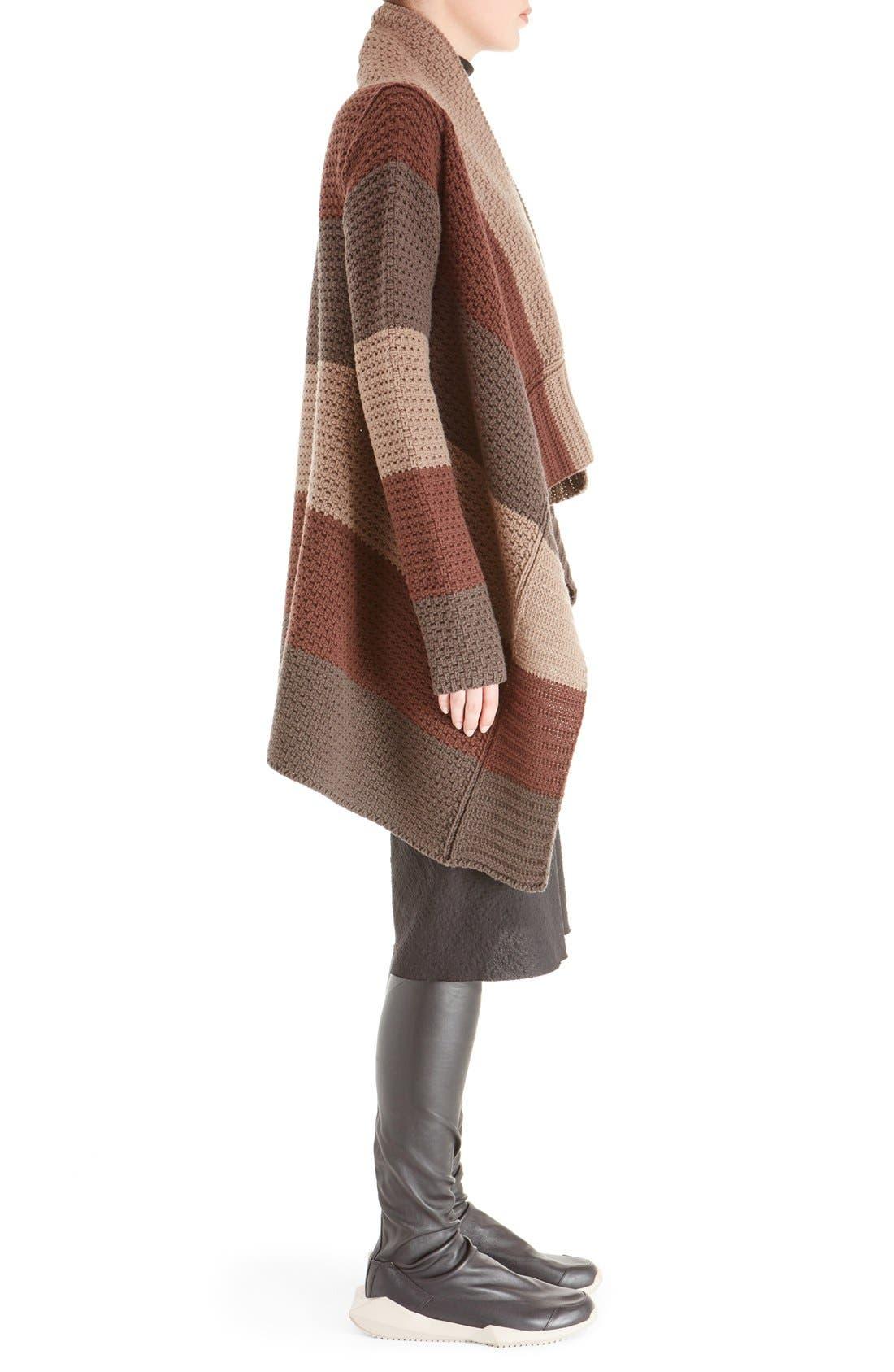 Alternate Image 4  - Rick Owens Stripe Drape Front Wool Cardigan