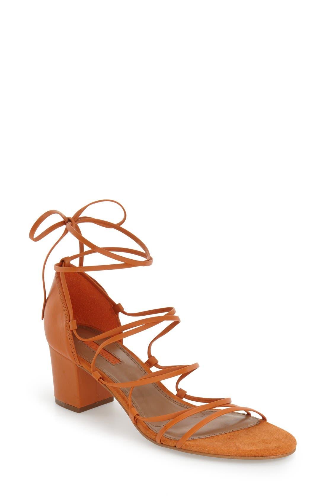 Main Image - Topshop Strappy Block Heel Sandal (Women)