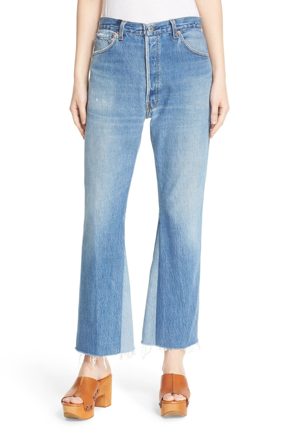 Re/Done The Leandra Reconstructed High Waist Crop Flare Jeans