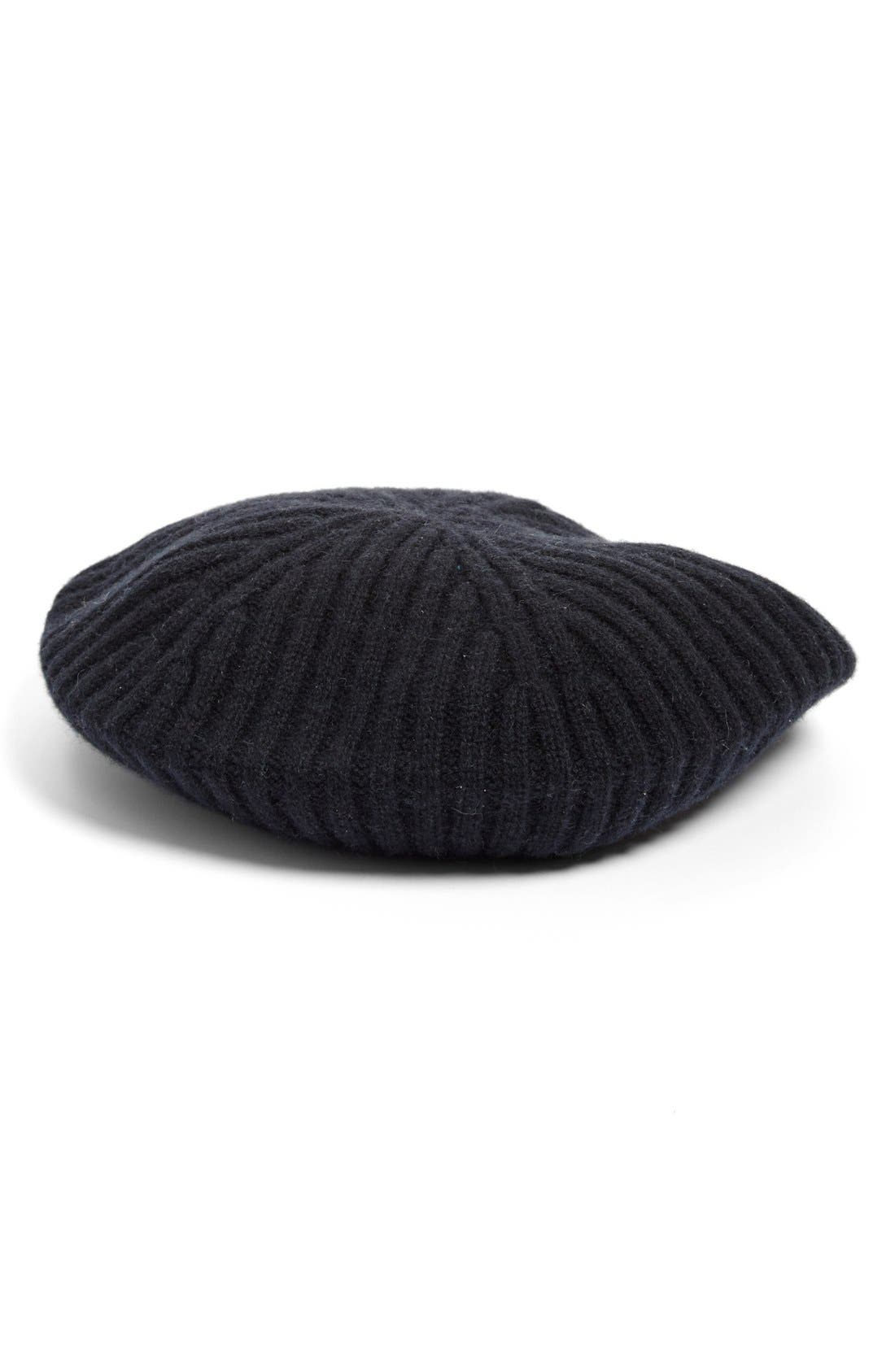 Main Image - Halogen® Slouchy Ribbed Cashmere Beret