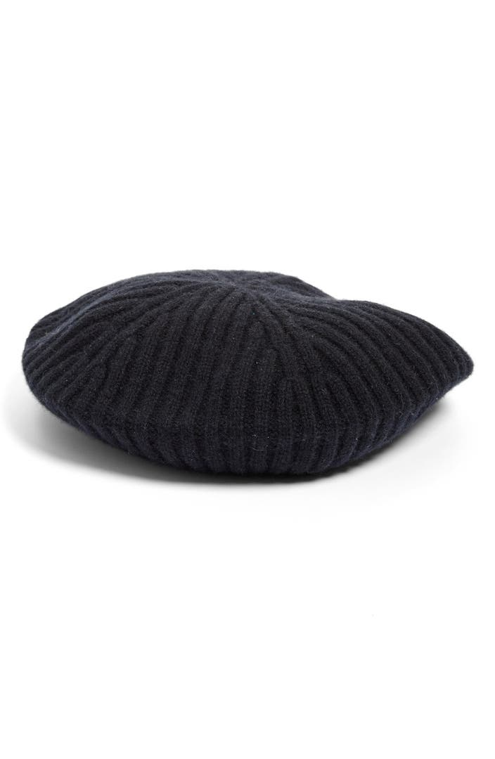 Cashmere Beret Knitting Pattern : Halogen  Slouchy Ribbed Cashmere Beret Nordstrom