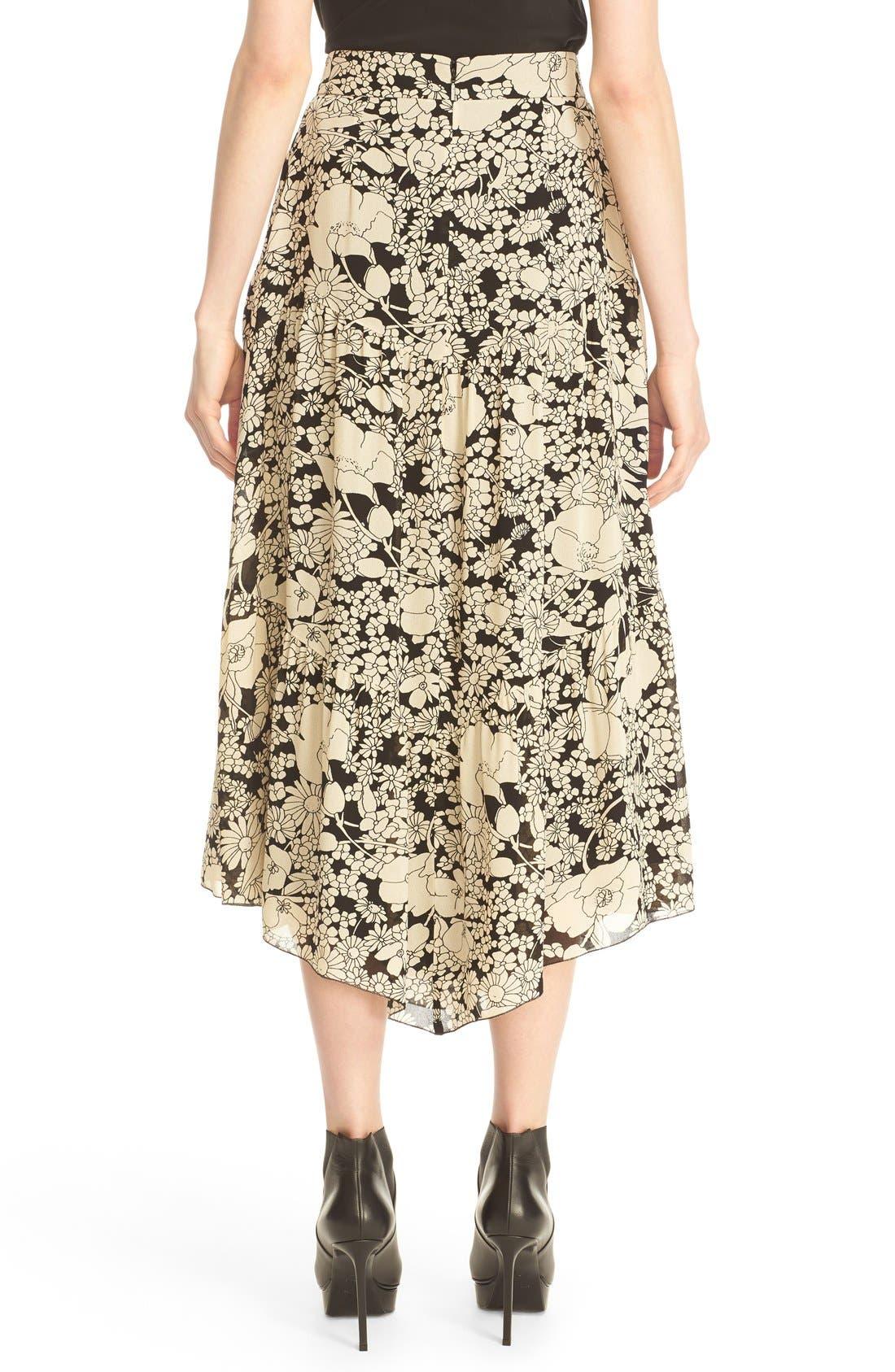 Alternate Image 2  - Saint Laurent Floral Print Crepe Midi Skirt