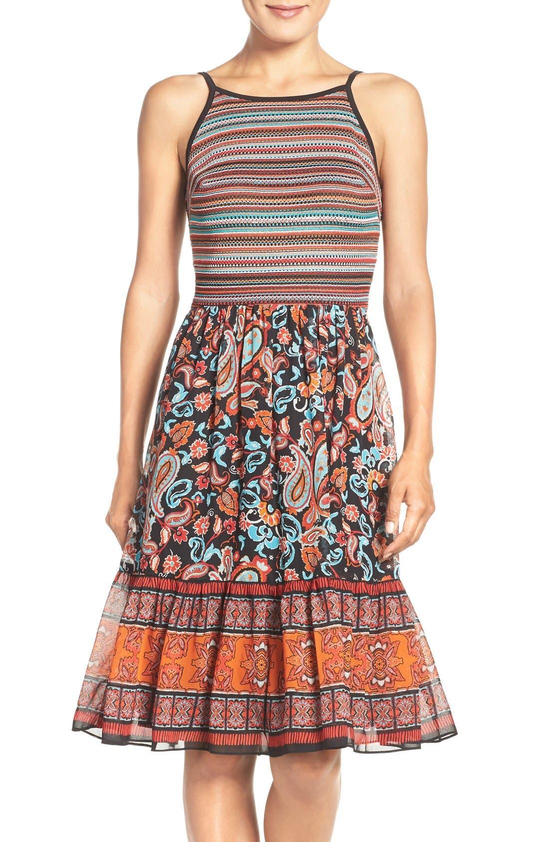 ECI Mixed Media Fit & Flare Dress