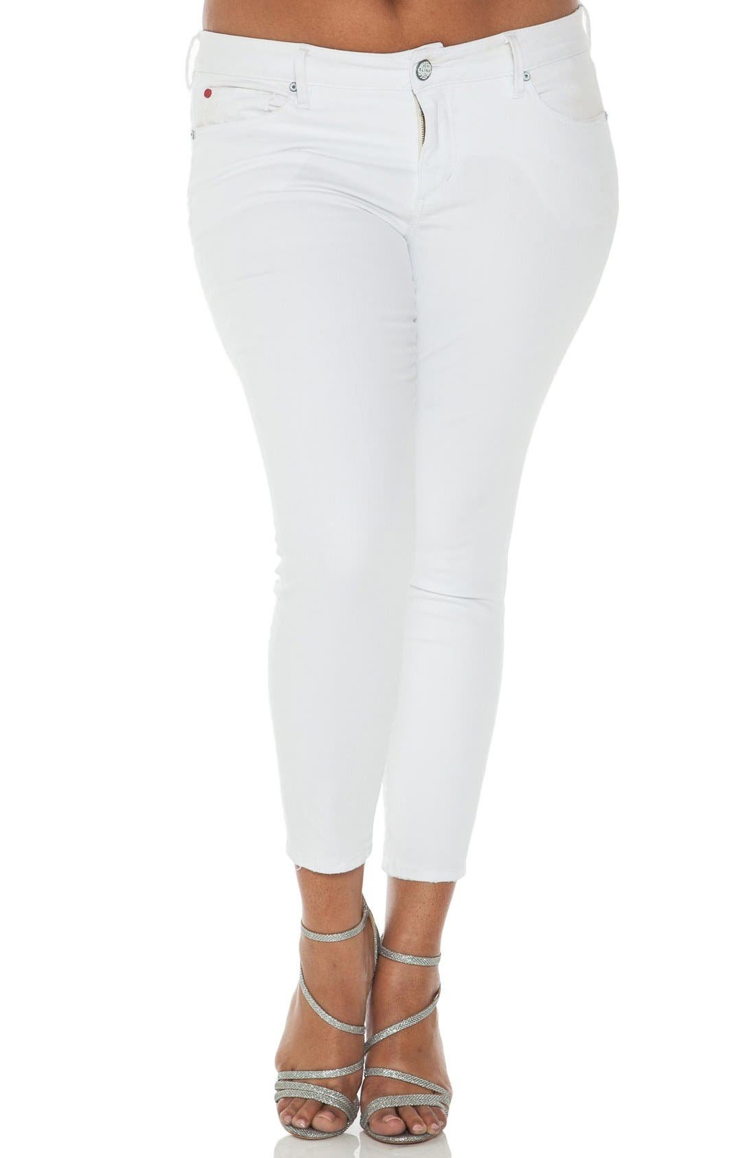 SLINK Jeans Stretch Ankle Skinny Jeans (Optical White) (Plus Size)