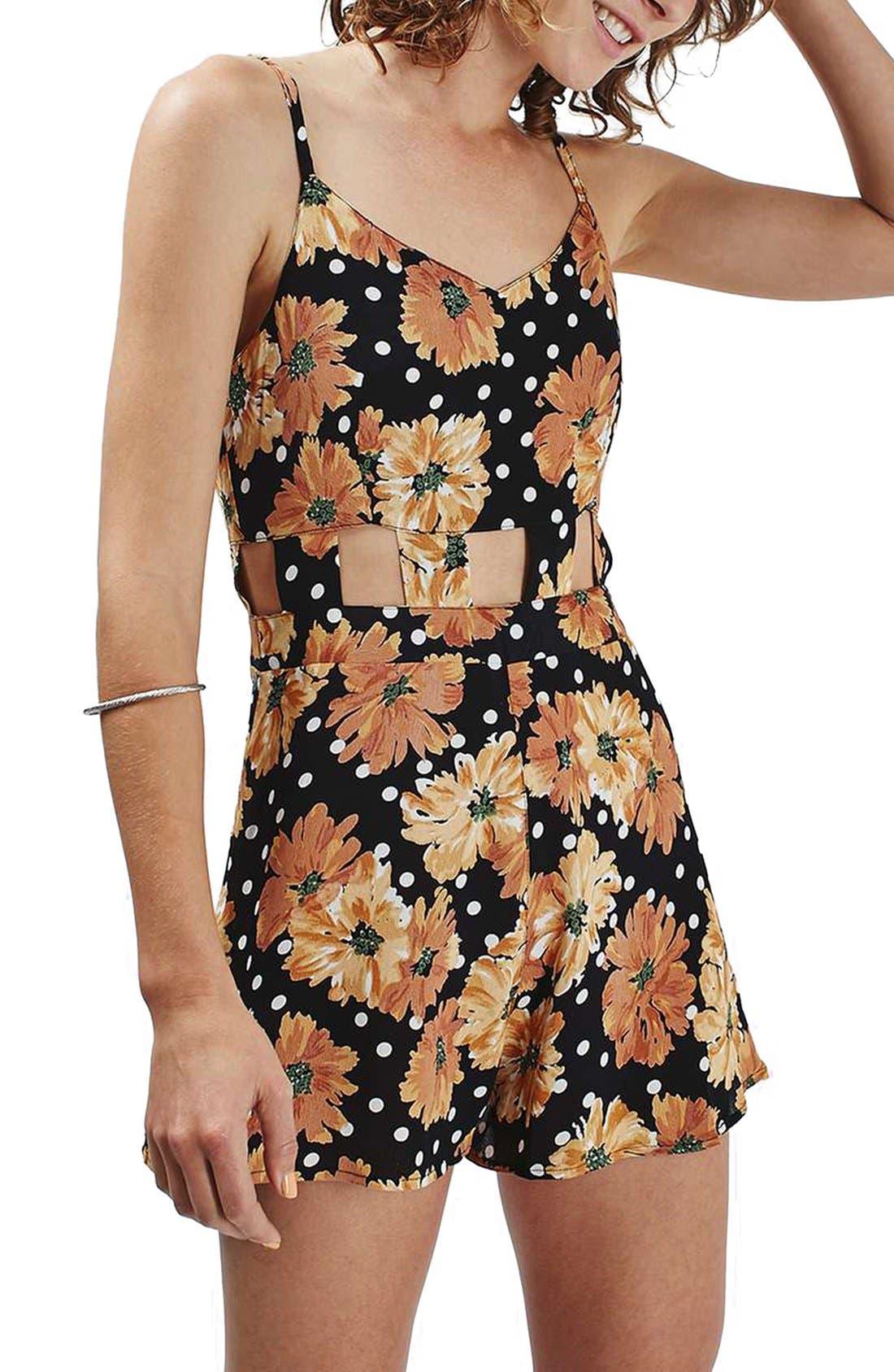 Main Image - Topshop Floral Dot Cutout Romper