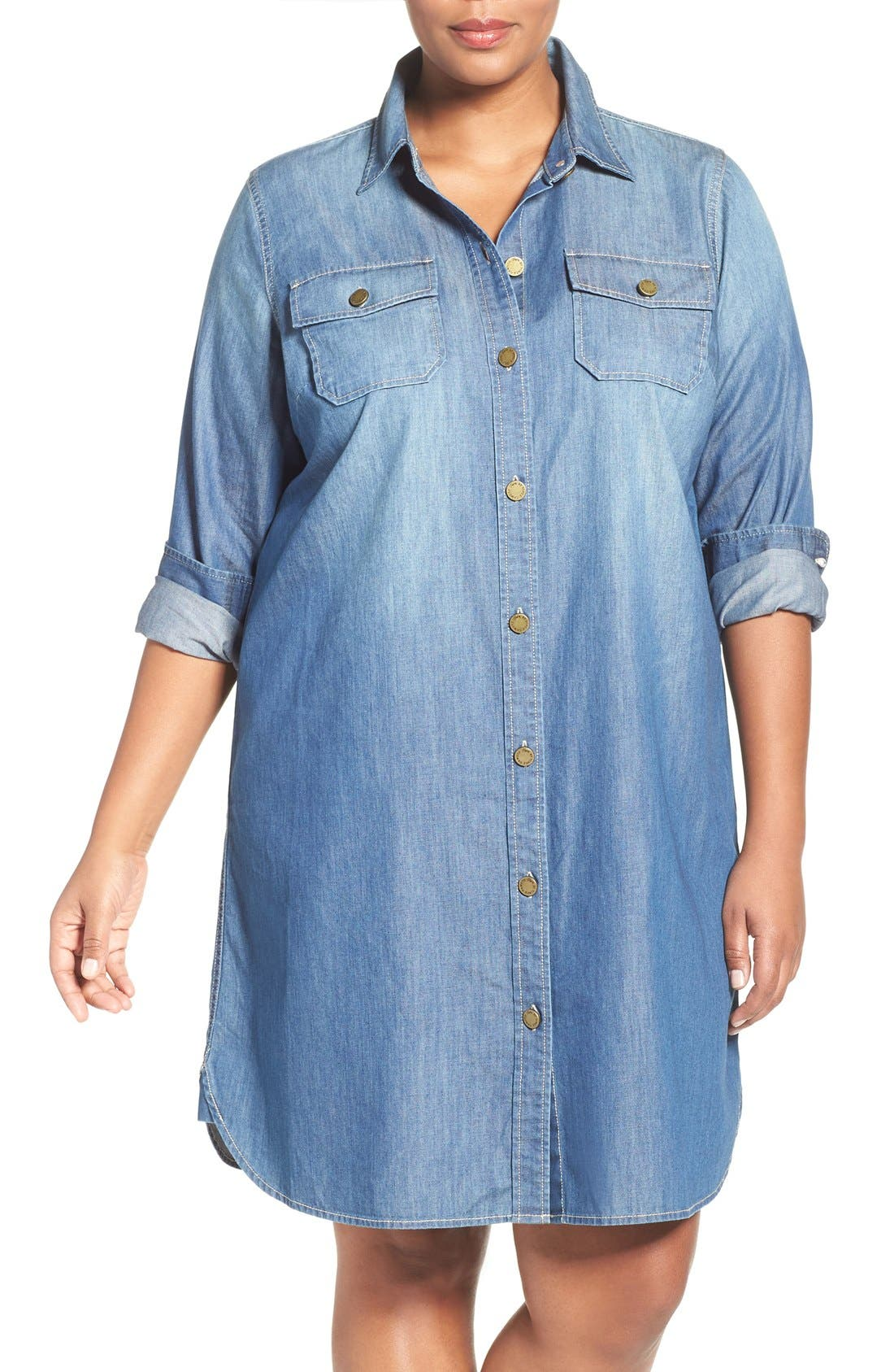 Alternate Image 1 Selected - Two by Vince Camuto Denim Shirtdress (Plus Size)