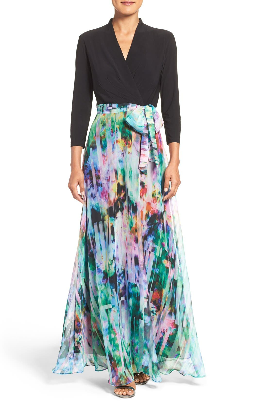Alternate Image 1 Selected - Chetta B Mixed Media Maxi Dress