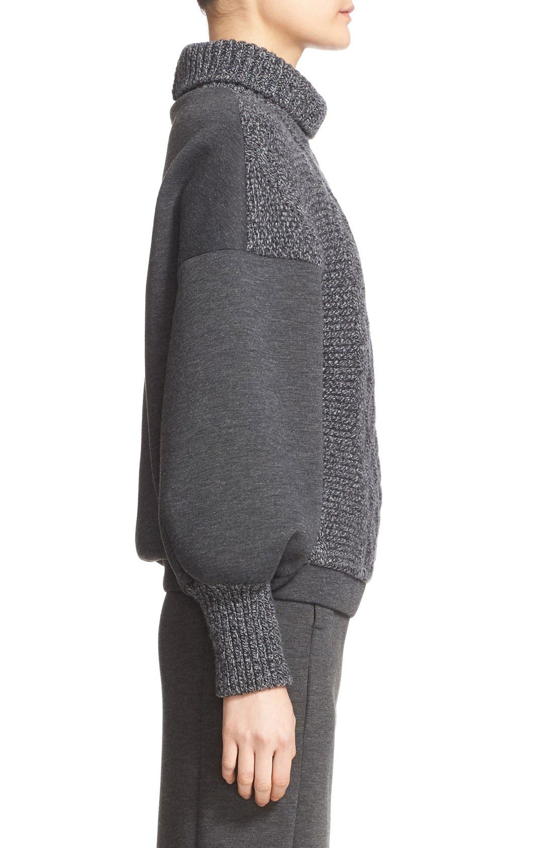 Alternate Image 5  - Tomas Maier Cable Knit & Scuba Fleece Turtleneck